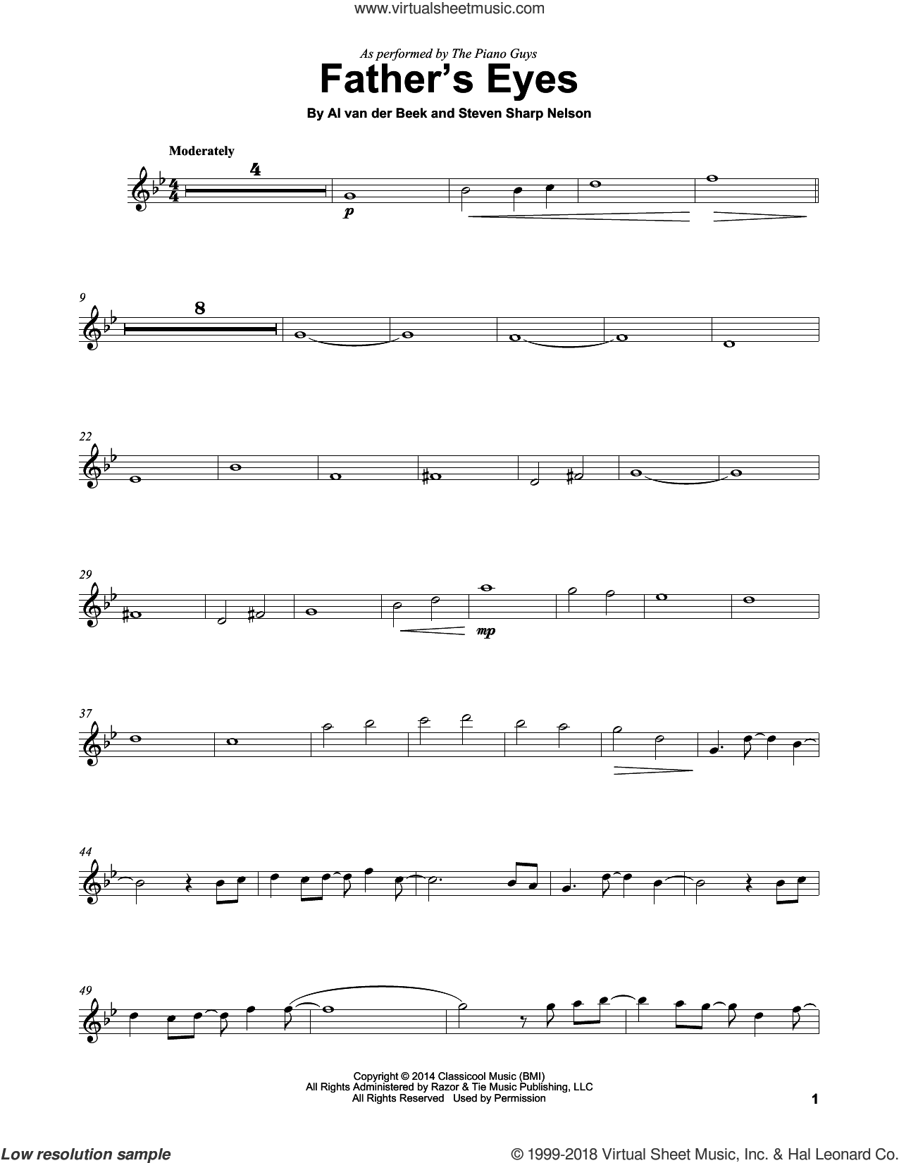 Father's Eyes sheet music for violin solo by The Piano Guys, Al van der Beek and Steven Sharp Nelson, intermediate skill level