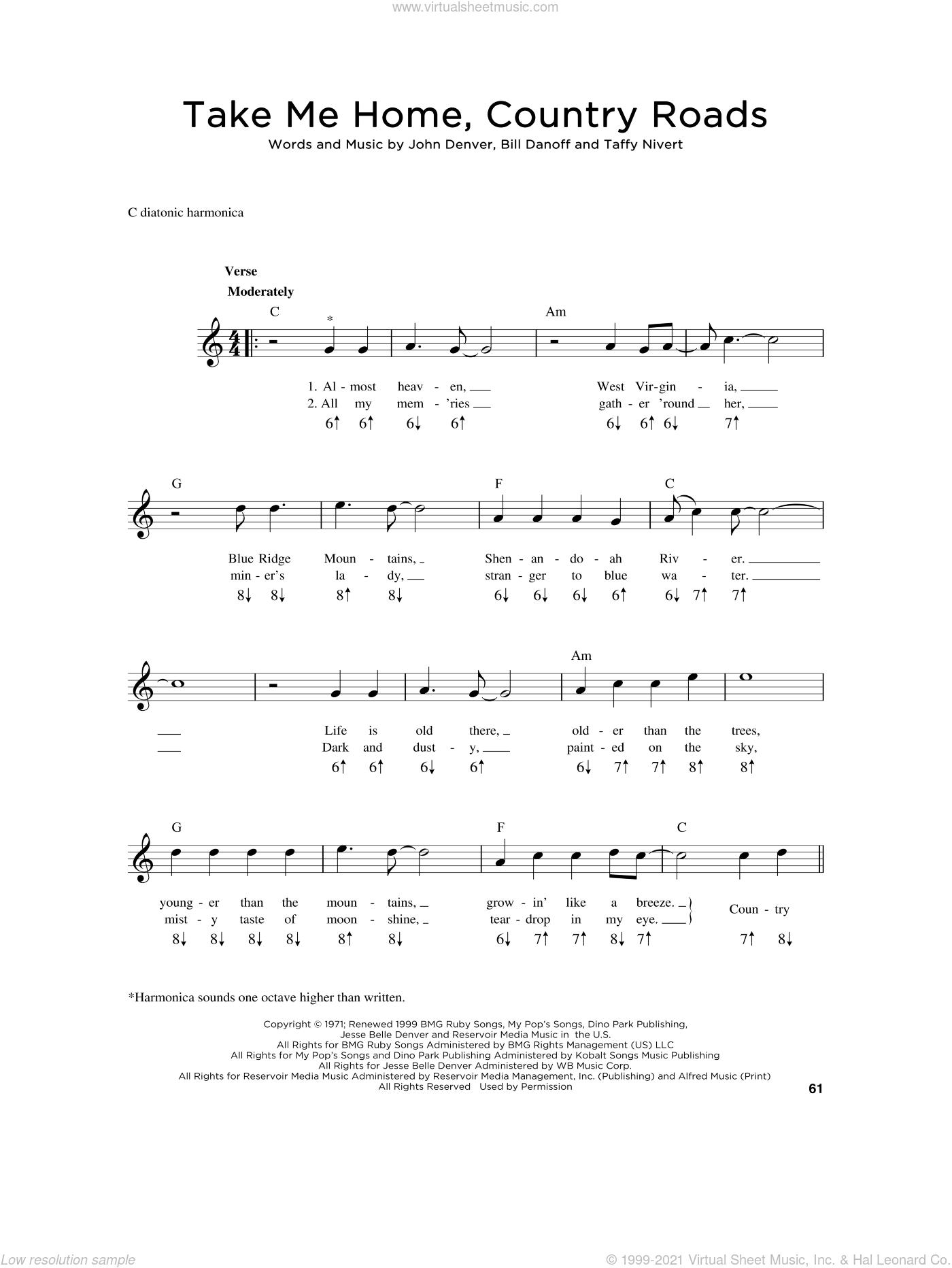 Take Me Home, Country Roads sheet music for harmonica solo by John Denver, Bill Danoff and Taffy Nivert, intermediate skill level