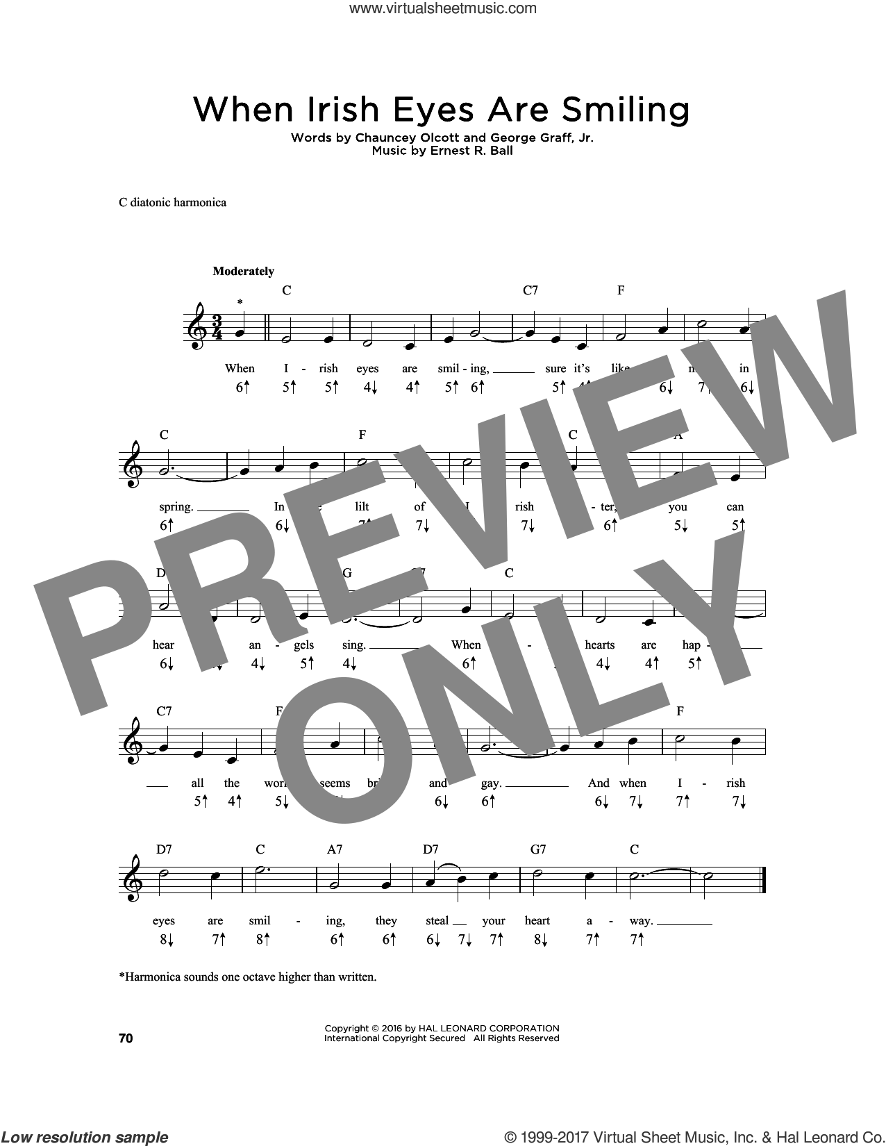 When Irish Eyes Are Smiling sheet music for harmonica solo by Chauncey Olcott, Ernest R. Ball and George Graff Jr., intermediate skill level