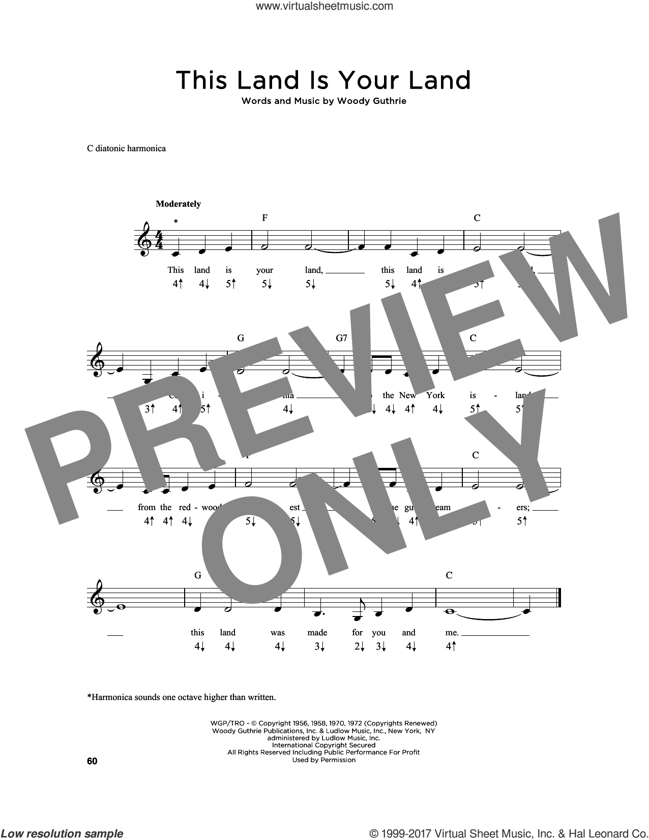 This Land Is Your Land sheet music for harmonica solo by Woody Guthrie, intermediate skill level