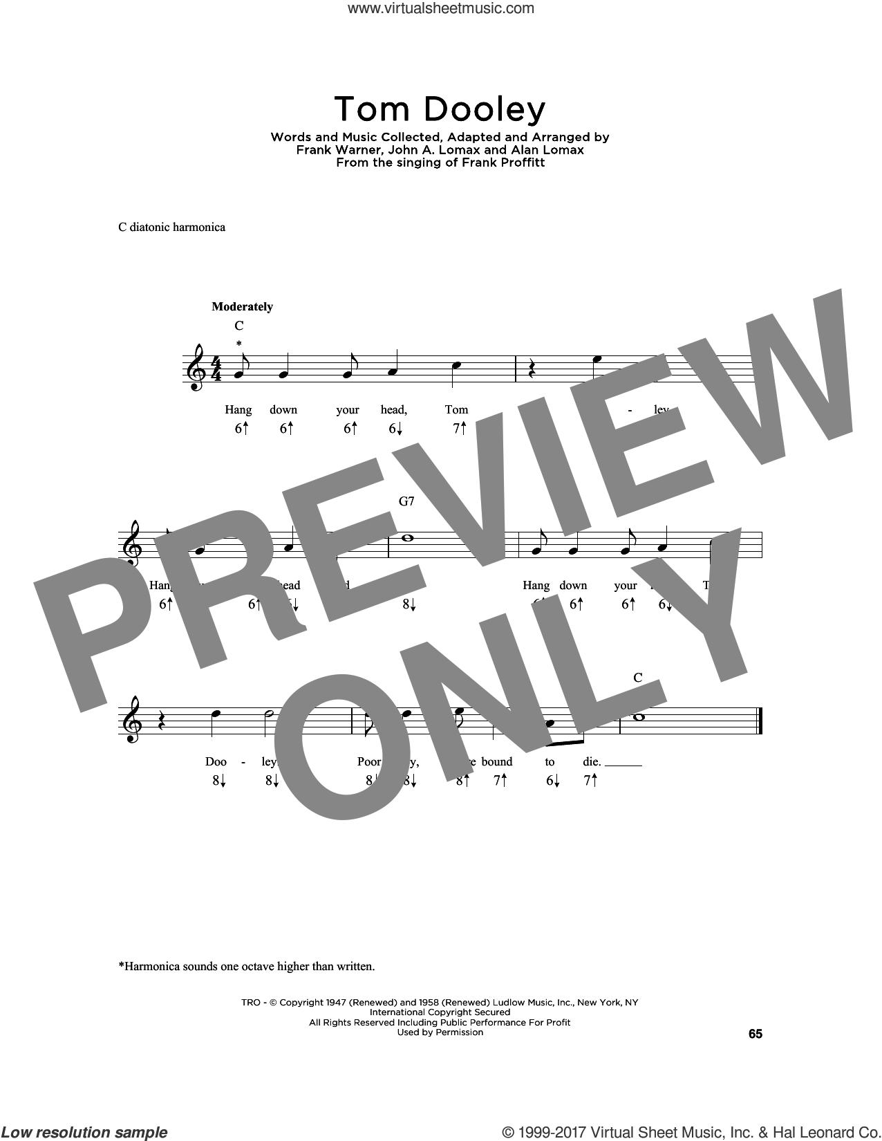 Tom Dooley sheet music for harmonica solo by Kingston Trio, Frank Warner and John A. Lomax, intermediate skill level