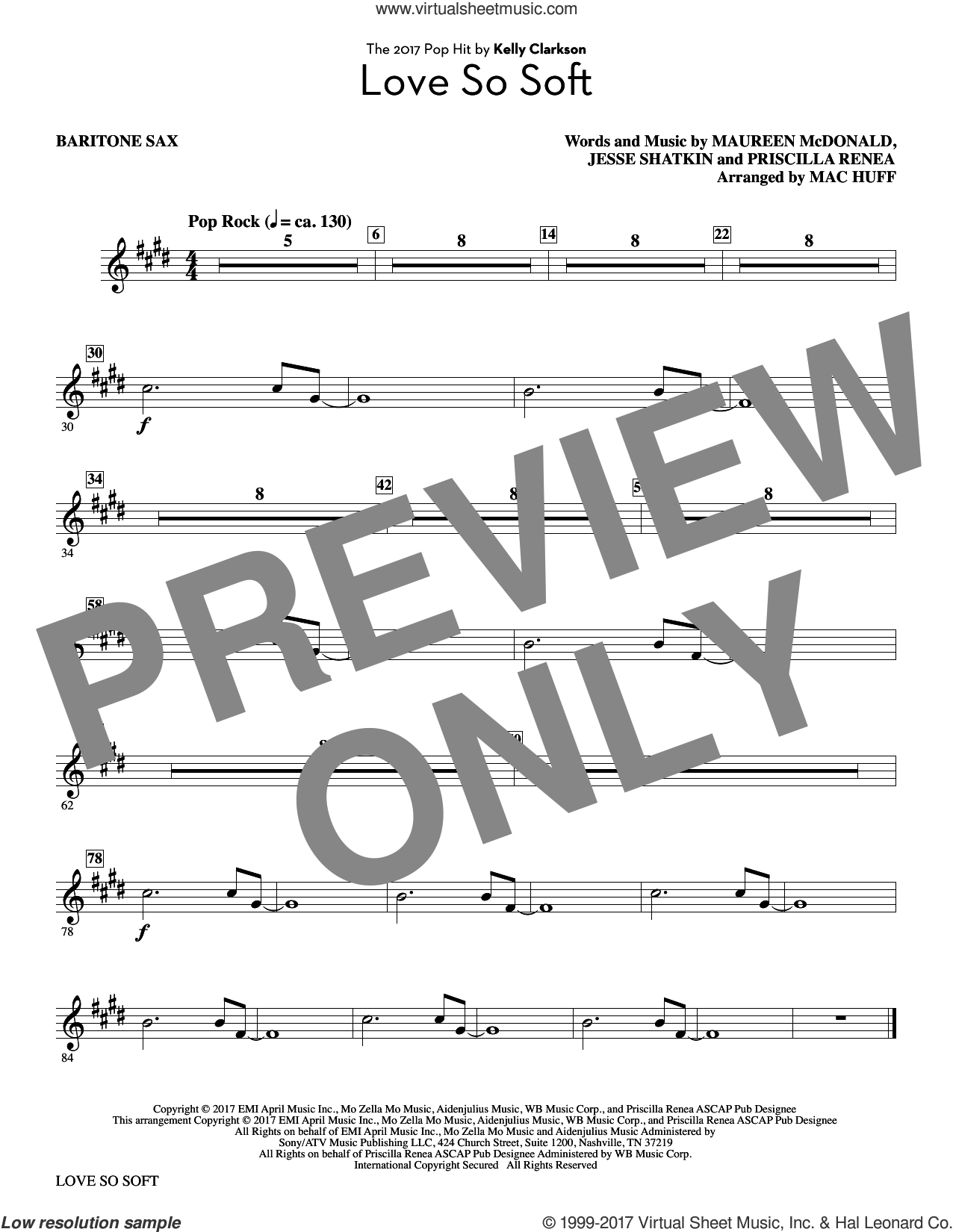 Love So Soft (complete set of parts) sheet music for orchestra/band by Mac Huff, Jesse Shatkin, Kelly Clarkson, Maureen McDonald and Priscilla Renea, intermediate skill level