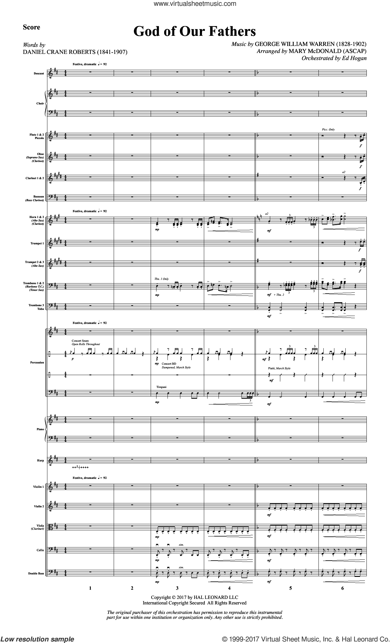 God of Our Fathers (COMPLETE) sheet music for orchestra/band by Mary McDonald, Daniel Crane Roberts and George William Warren, intermediate skill level