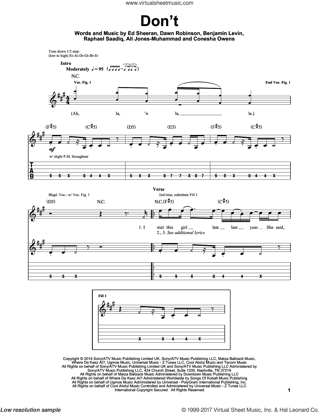 Don't sheet music for guitar (tablature, play-along) by Ed Sheeran, Ali Jones-Muhammad, Benjamin Levin, Conesha Owens, Dawn Robinson and Raphael Saadiq, intermediate skill level