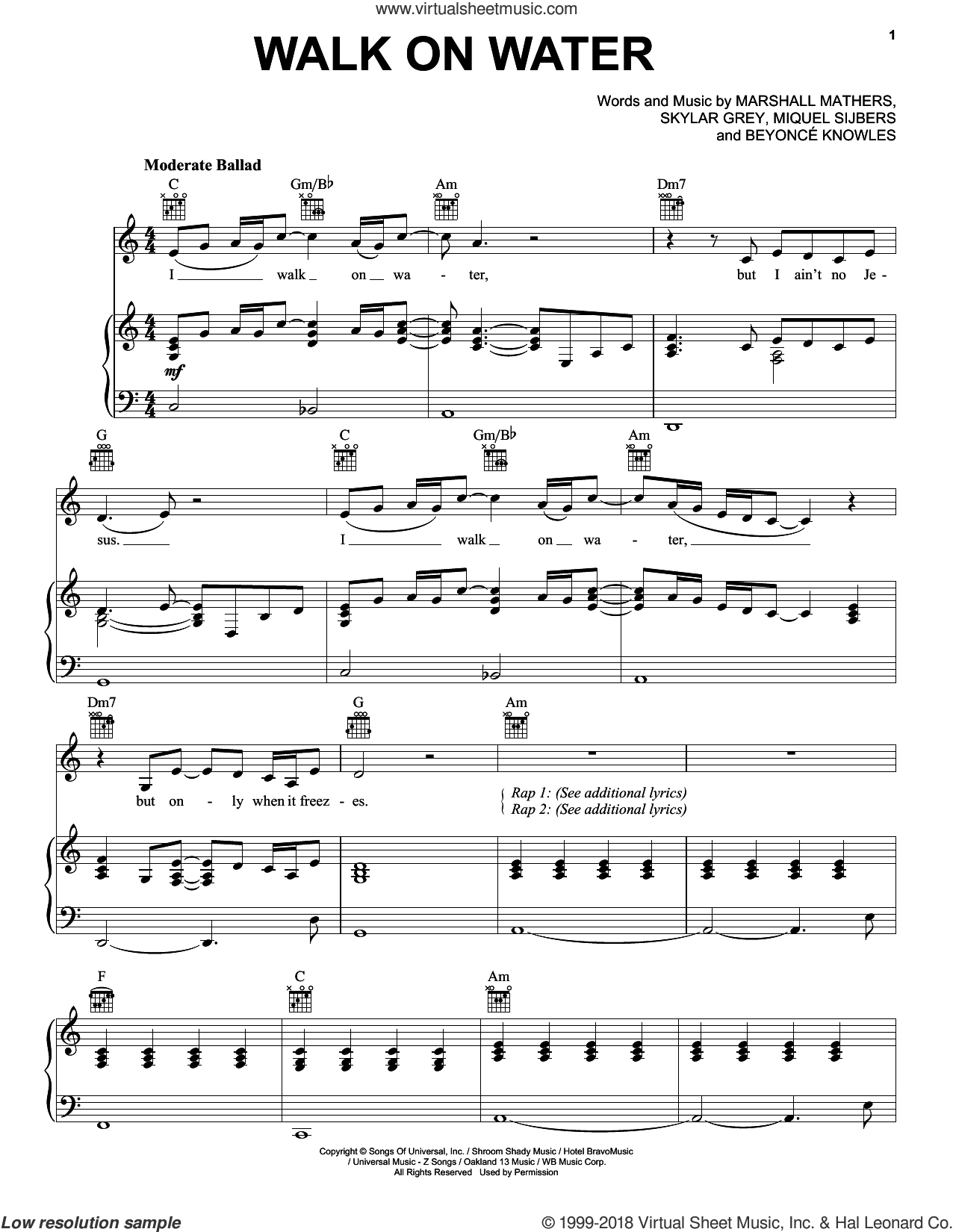 Walk On Water sheet music for voice, piano or guitar by Beyonce, Beyonce Knowles, Marshall Mathers, Miquel Sijbers and Skylar Grey, intermediate skill level
