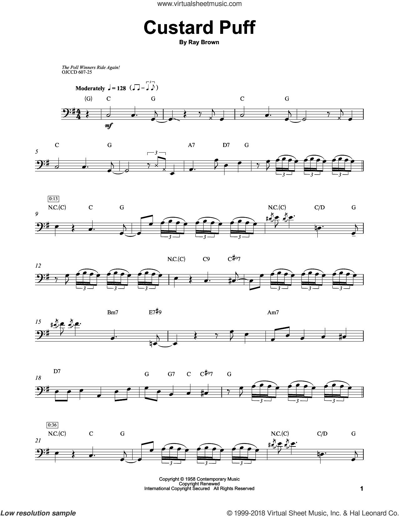 Custard Puff sheet music for brass ensemble (transcription) by Ray Brown, intermediate skill level