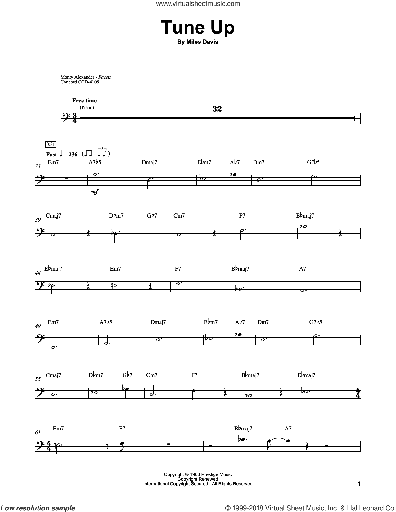 Tune Up sheet music for brass ensemble (transcription) by Ray Brown and Miles Davis, intermediate skill level