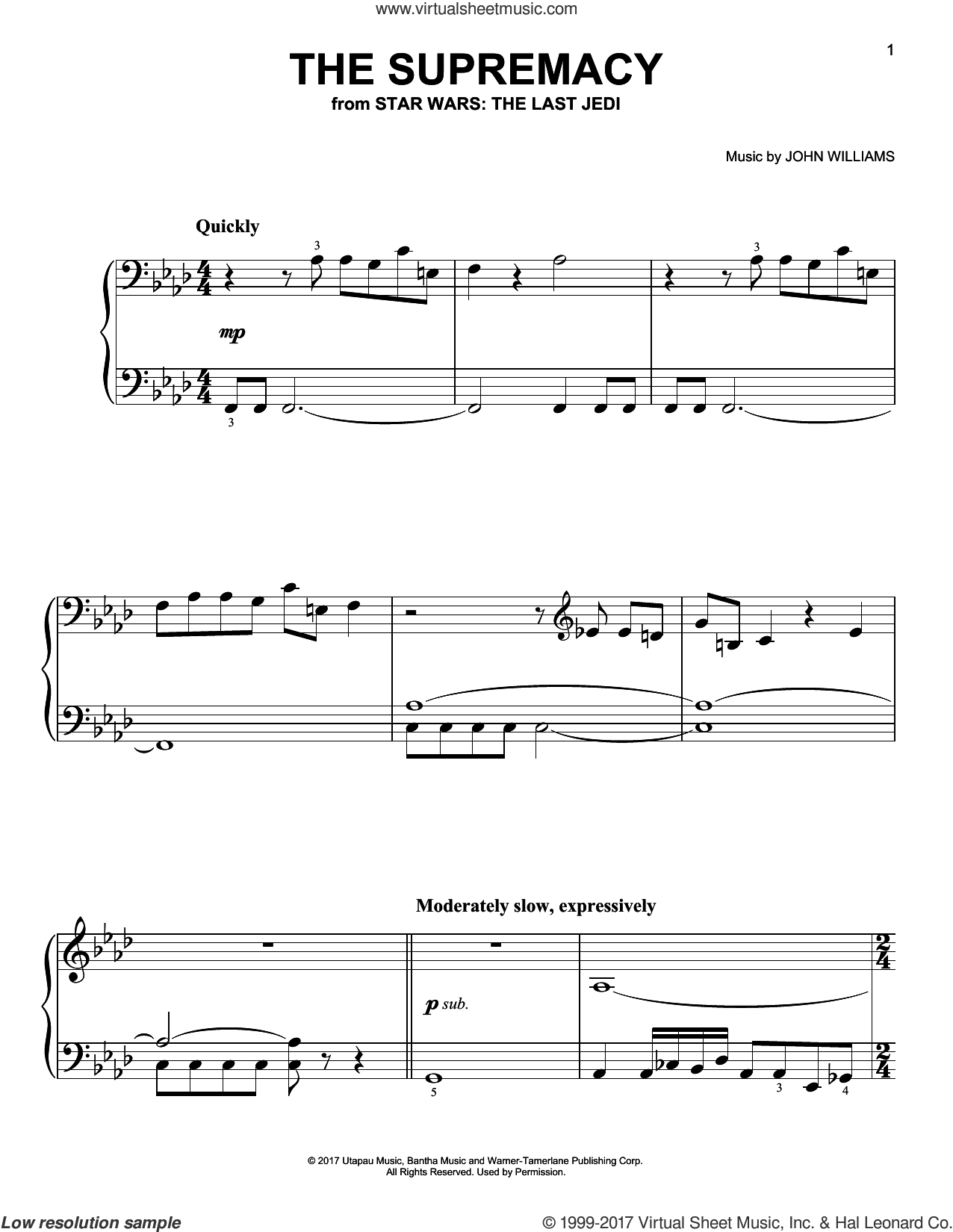 The Supremacy sheet music for piano solo by John Williams, easy skill level