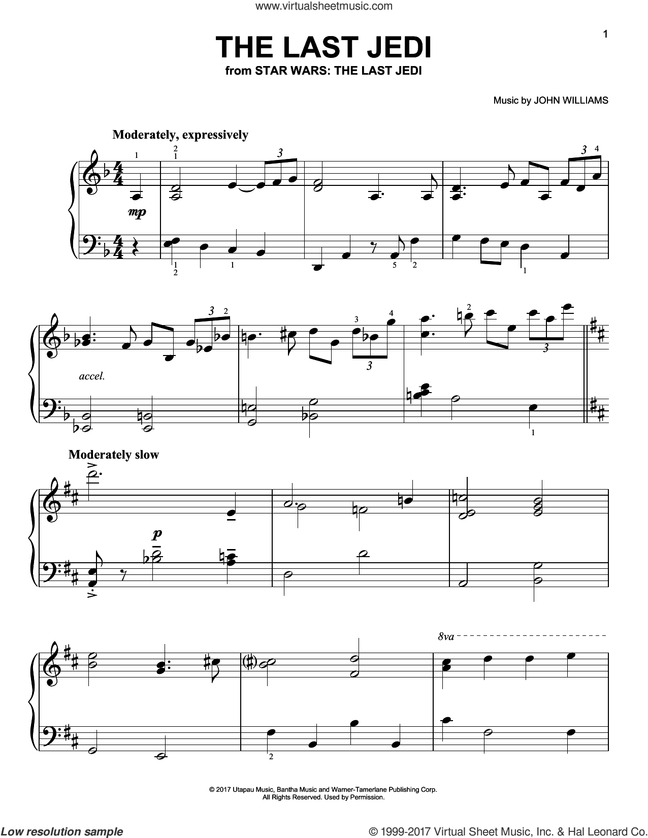 The Last Jedi sheet music for piano solo by John Williams, easy skill level