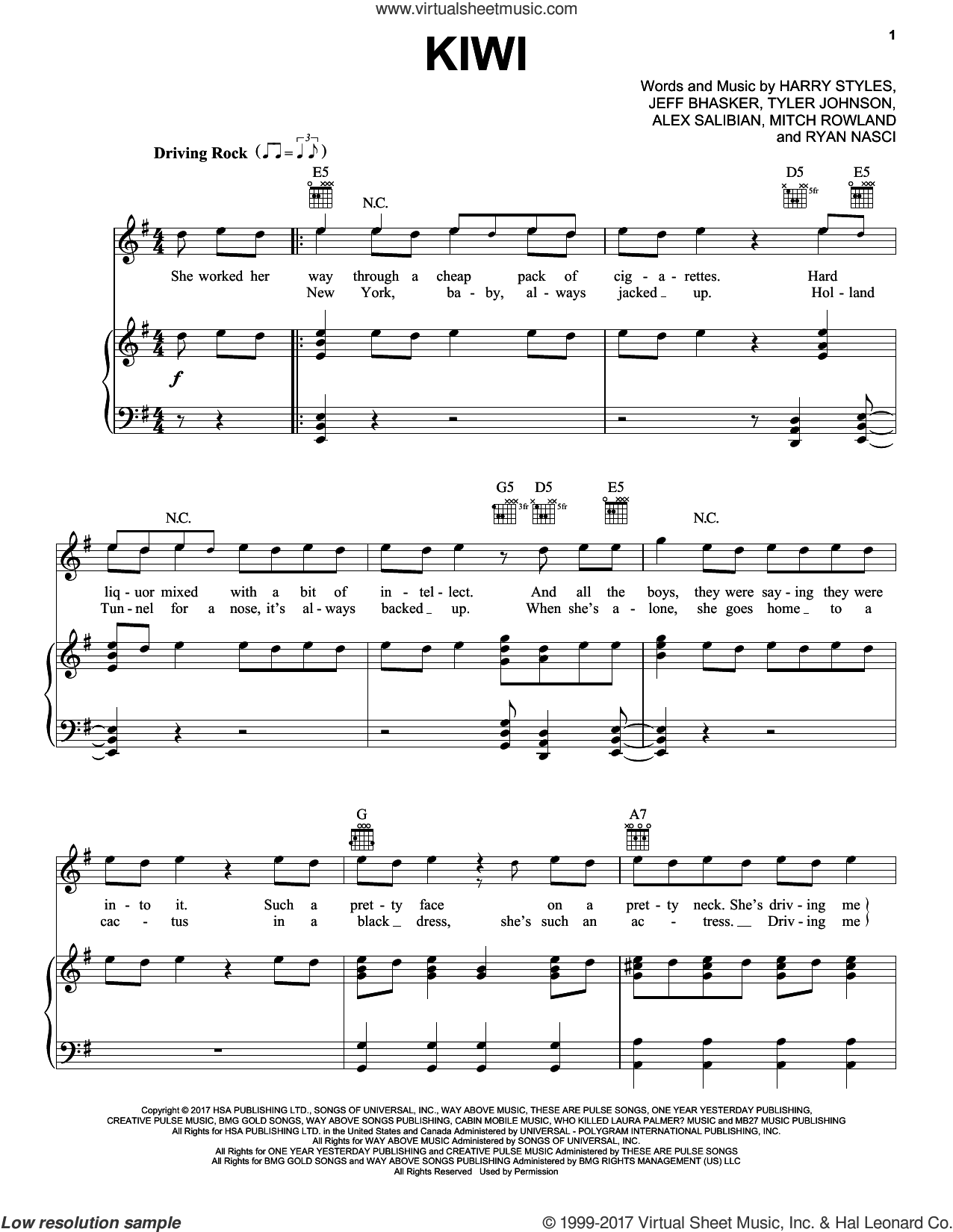 Kiwi sheet music for voice, piano or guitar by Harry Styles, Alex Salibian, Jeff Bhasker, Mitch Rowland, Ryan Nasci and Tyler Johnson, intermediate