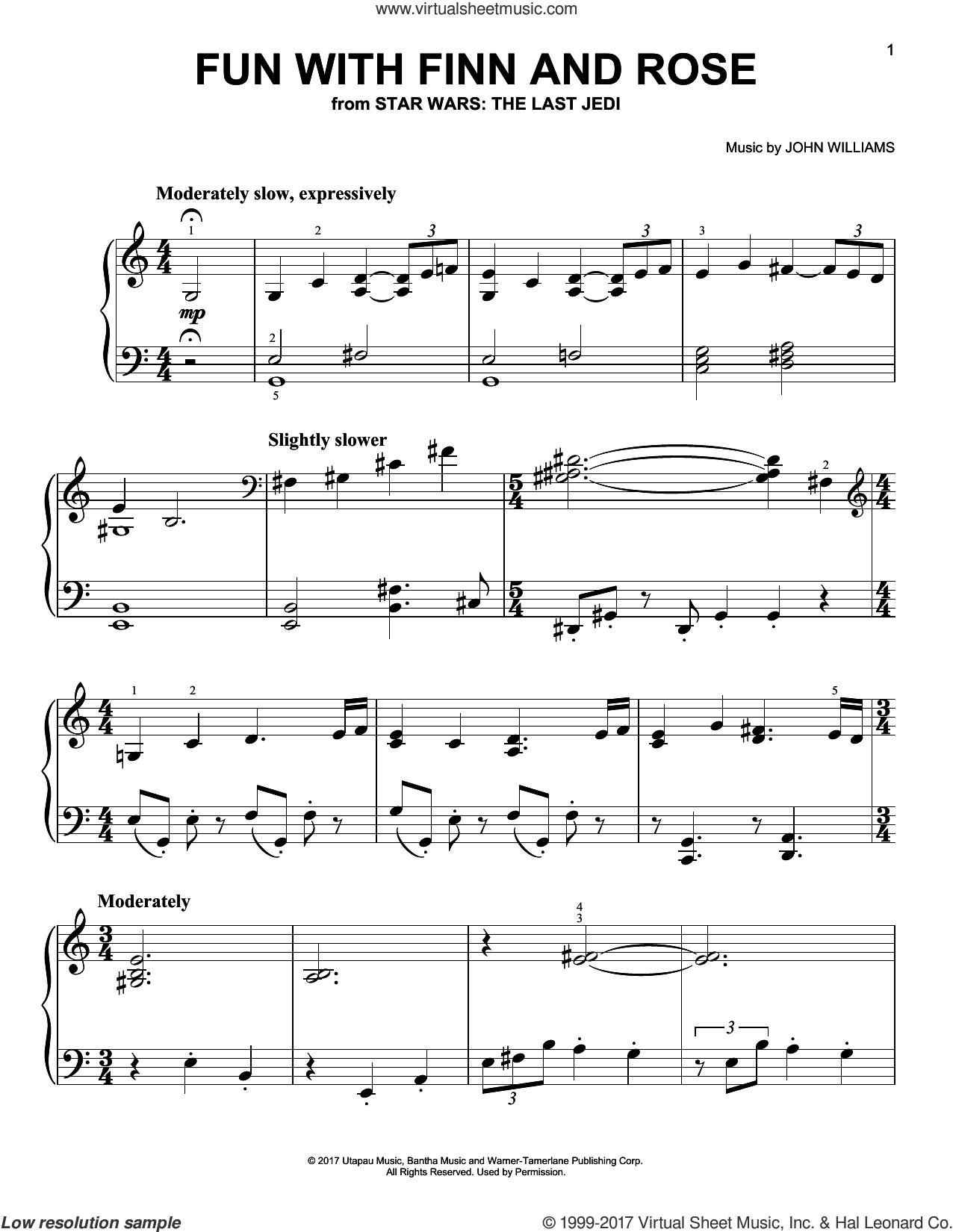 Fun With Finn And Rose sheet music for piano solo by John Williams, easy skill level