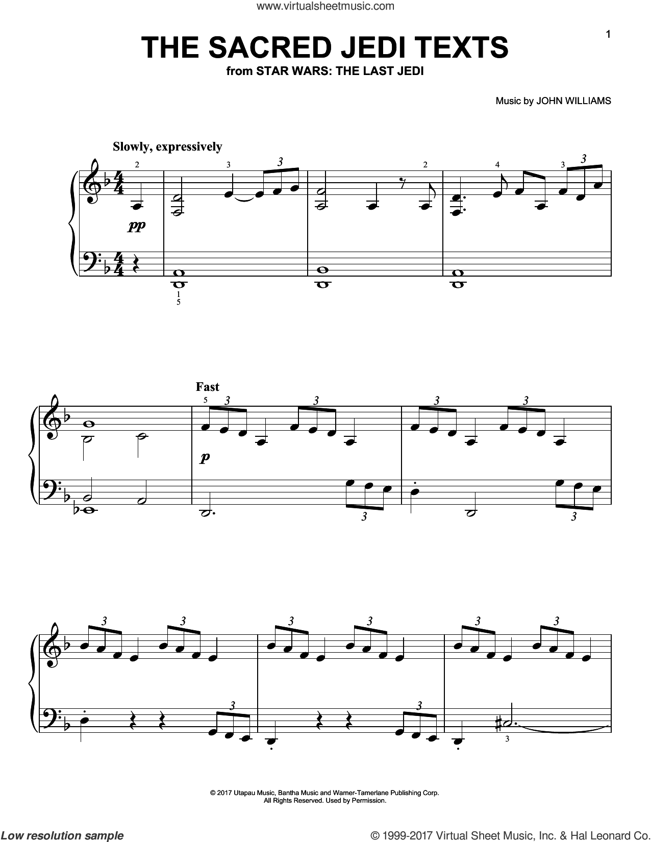 The Sacred Jedi Texts sheet music for piano solo by John Williams, easy skill level