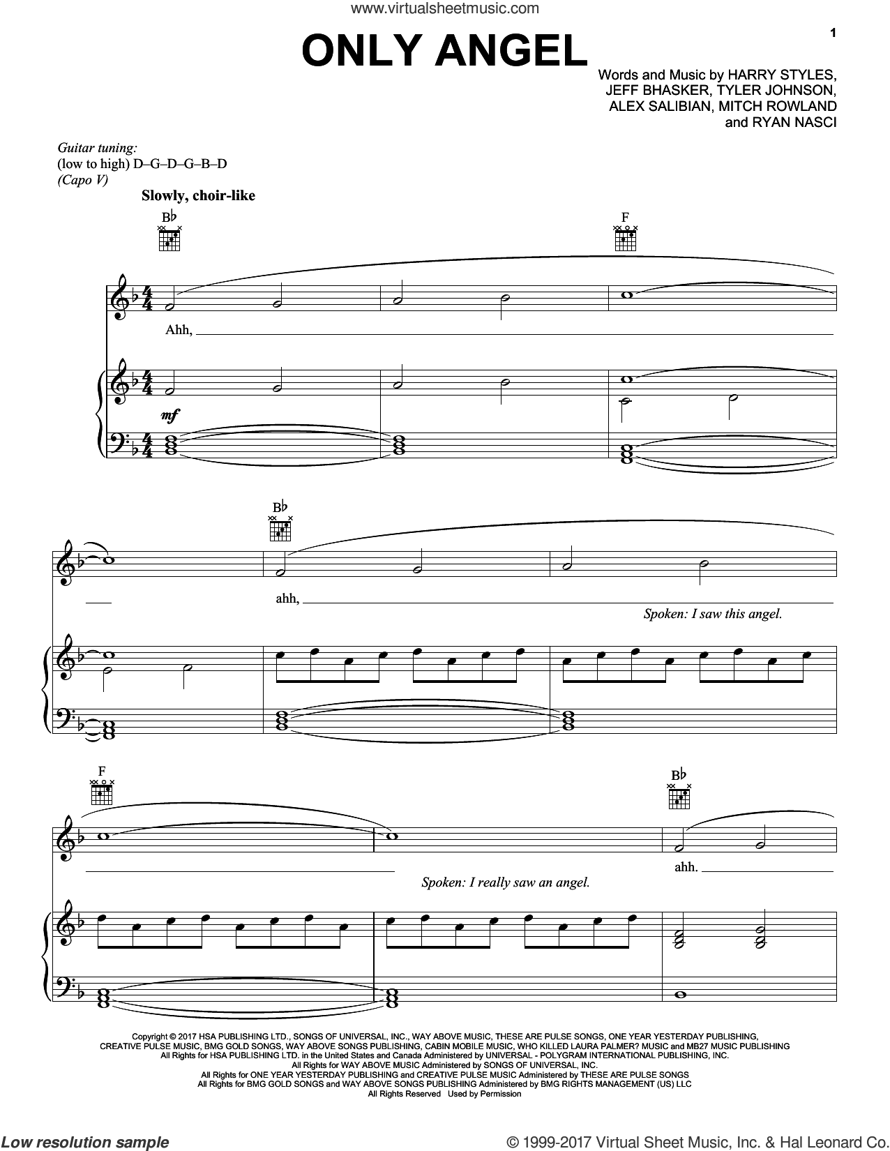Only Angel sheet music for voice, piano or guitar by Harry Styles, Alex Salibian, Jeff Bhasker, Mitch Rowland, Ryan Nasci and Tyler Johnson, intermediate skill level