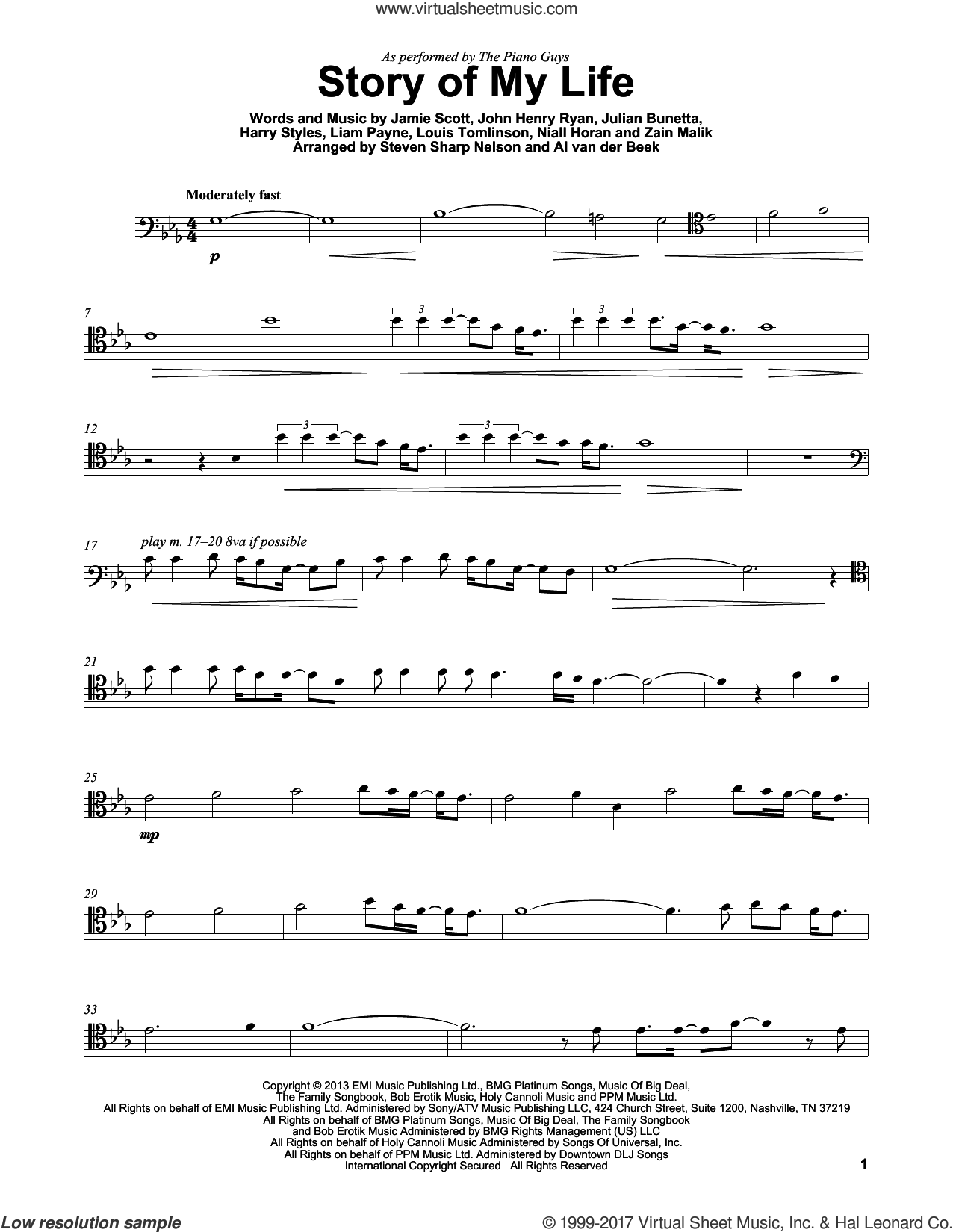 Story Of My Life sheet music for cello solo by The Piano Guys, One Direction, Harry Styles, Jamie Scott, John Henry Ryan, Julian Bunetta, Liam Payne, Louis Tomlinson, Niall Horan and Zain Malik, intermediate skill level
