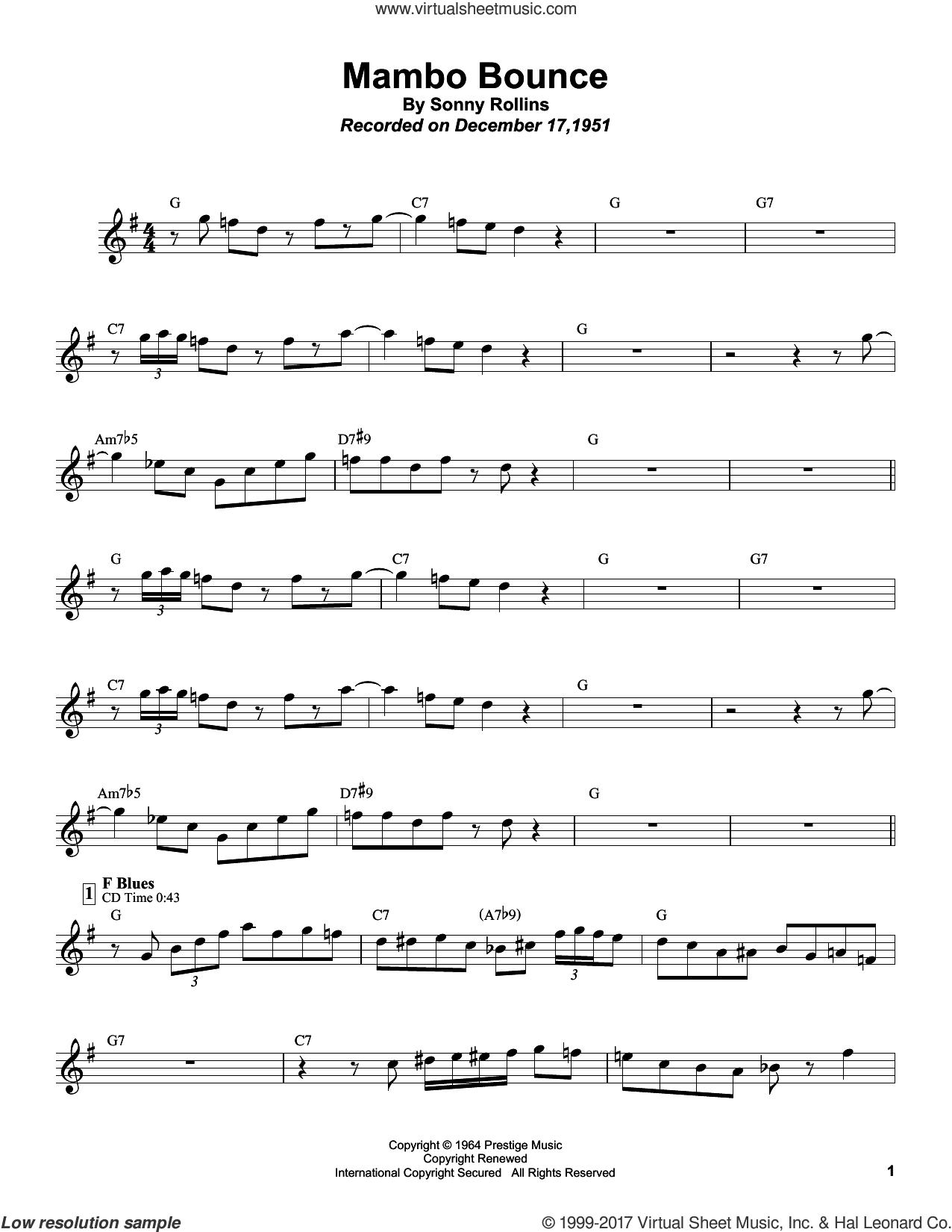 Mambo Bounce sheet music for tenor saxophone solo (transcription) by Sonny Rollins, Art Blakey, Kenny Drew, Modern Jazz Quartet and Sonny Rollins With The Modern Jazz Quartet, intermediate tenor saxophone (transcription)