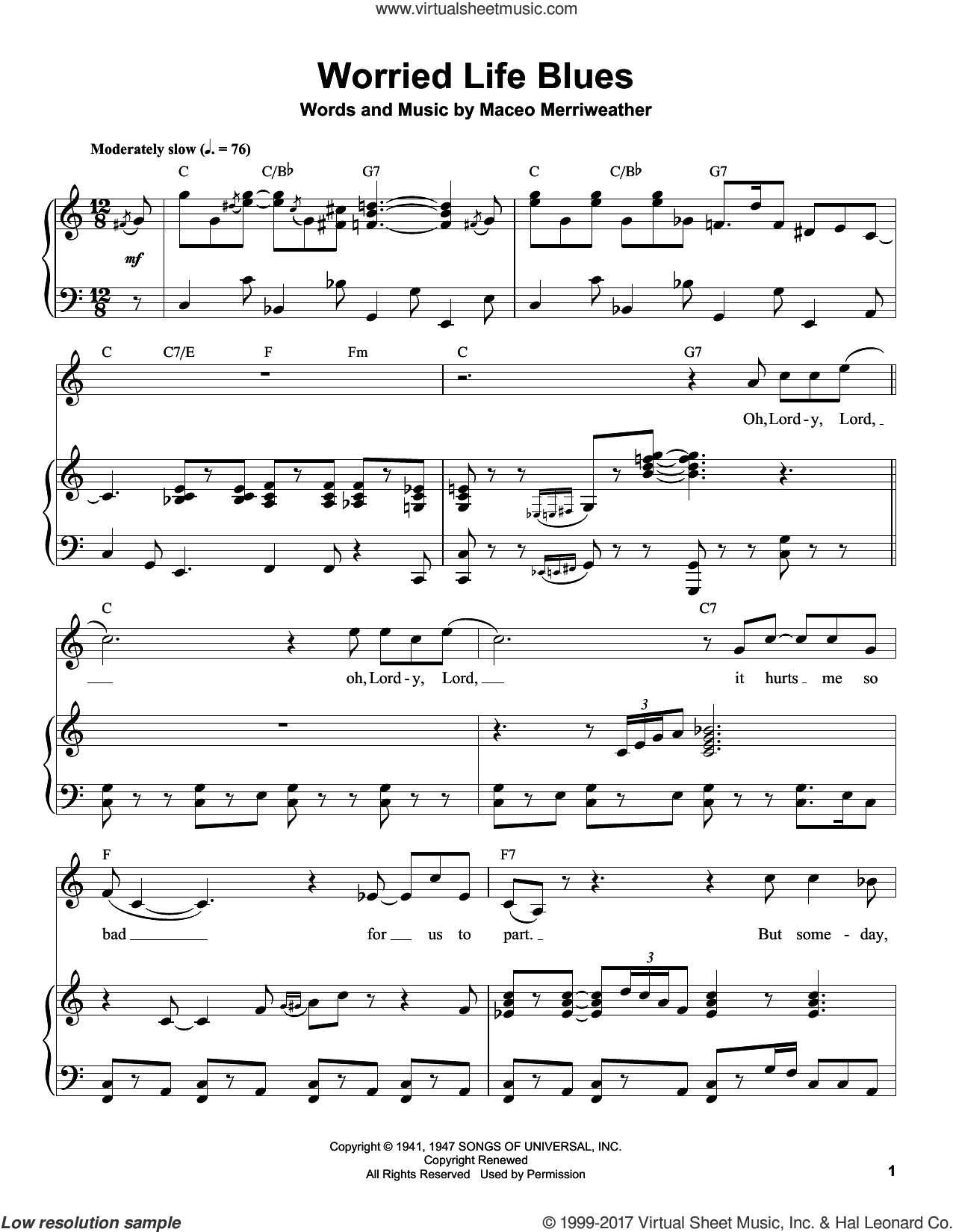 Clapton - Worried Life Blues sheet music for piano solo (transcription)