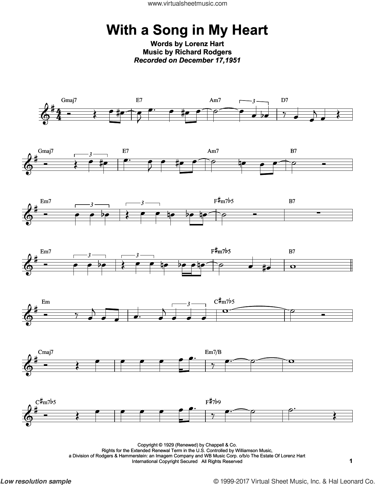 Rollins - With A Song In My Heart sheet music for tenor saxophone solo  (transcription)