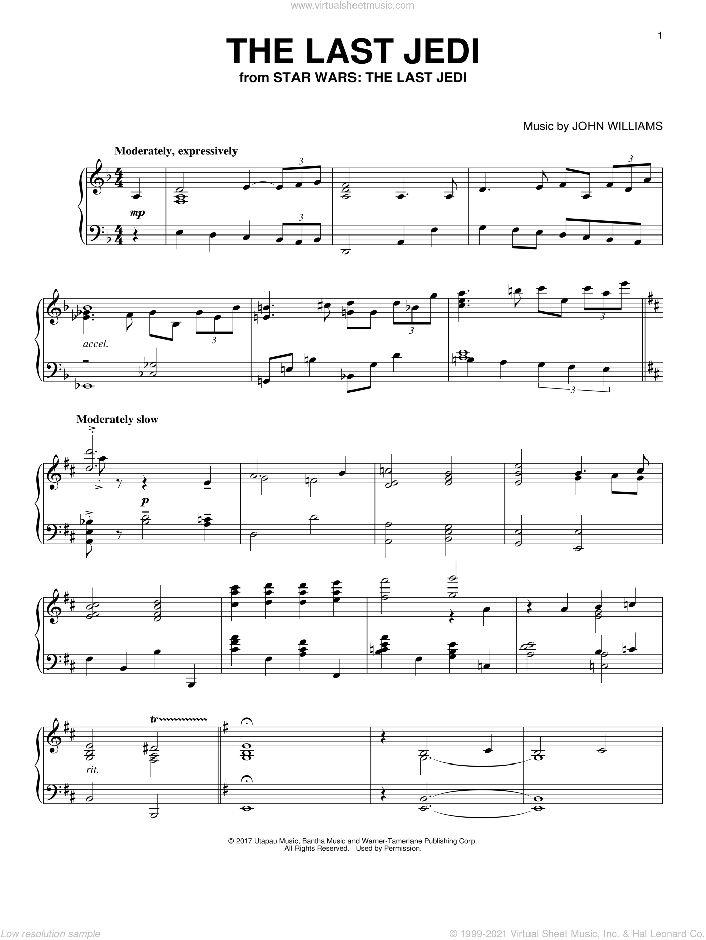 The Last Jedi sheet music for piano solo by John Williams, intermediate skill level