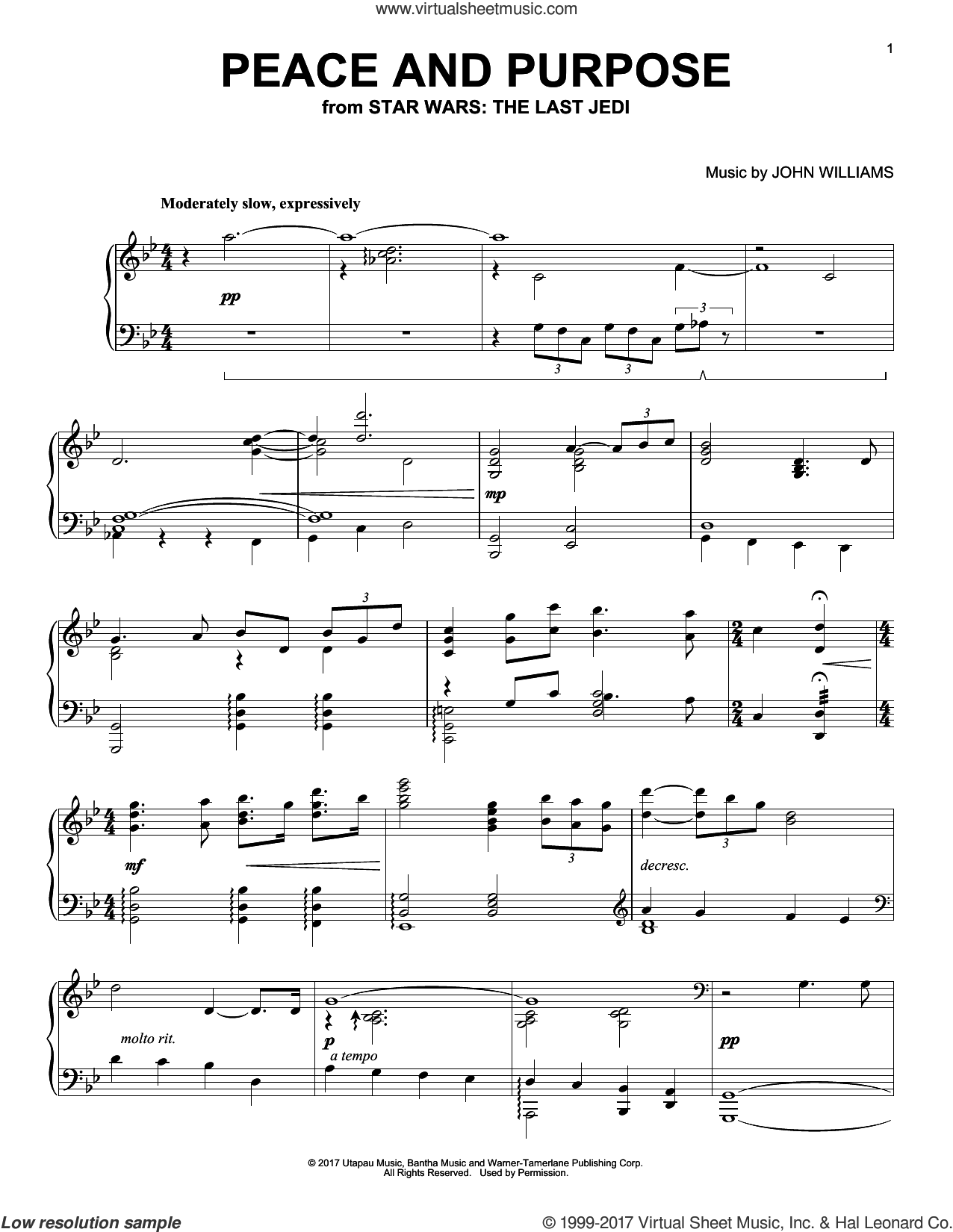 Peace And Purpose sheet music for piano solo by John Williams, intermediate skill level
