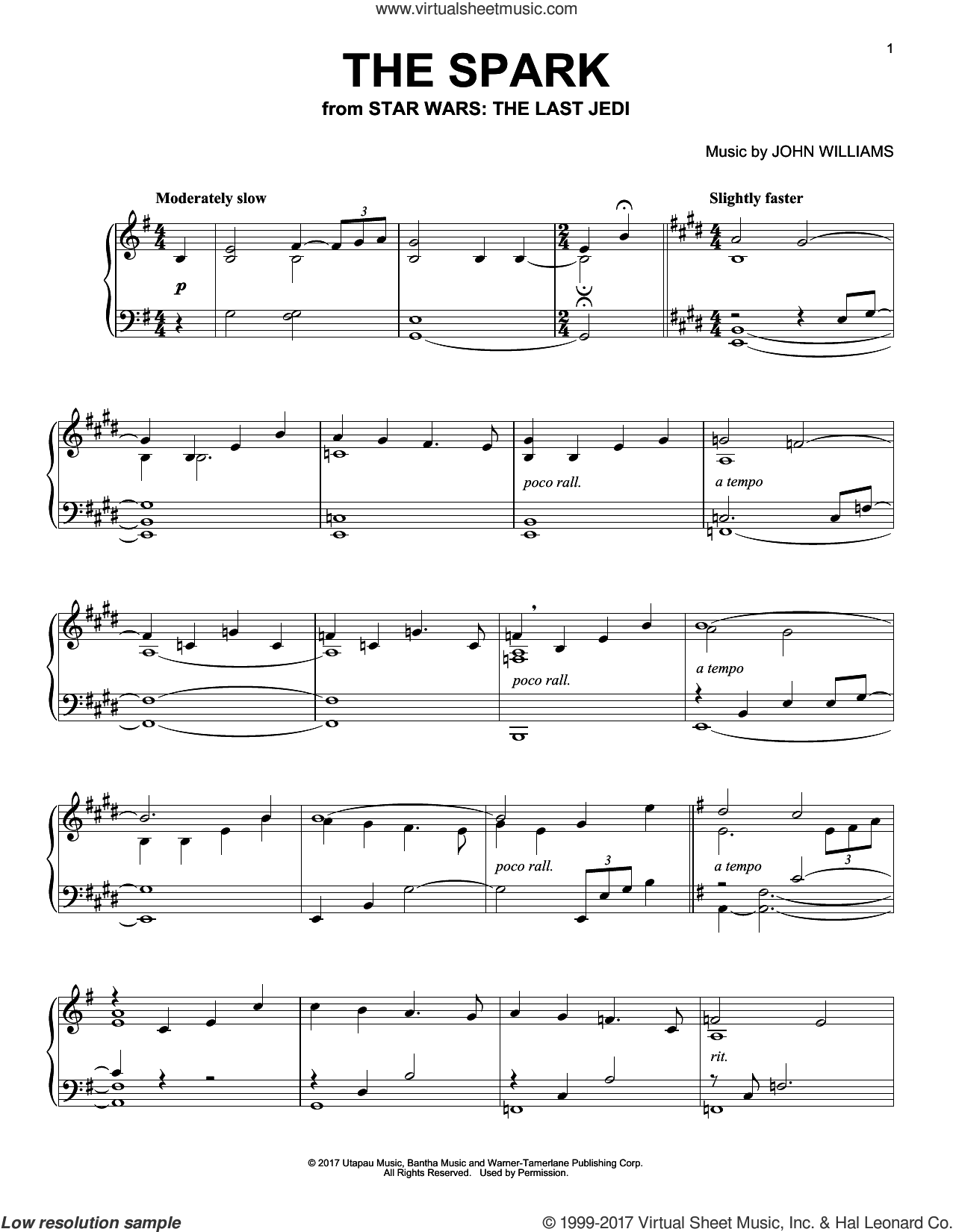 The Spark sheet music for piano solo by John Williams, intermediate skill level