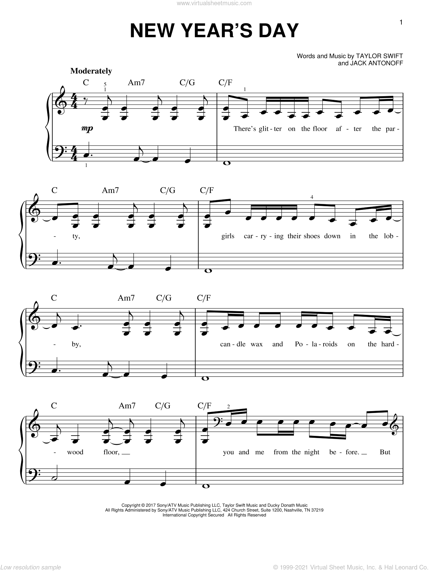 New Year's Day sheet music for piano solo by Taylor Swift and Jack Antonoff, easy skill level