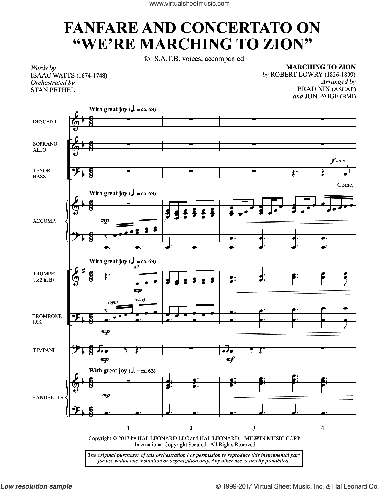 Fanfare and Concertato on 'We're Marching to Zion' (COMPLETE) sheet music for orchestra/band by Brad Nix, Isaac Watts, Jon Paige and Robert Lowry, intermediate skill level