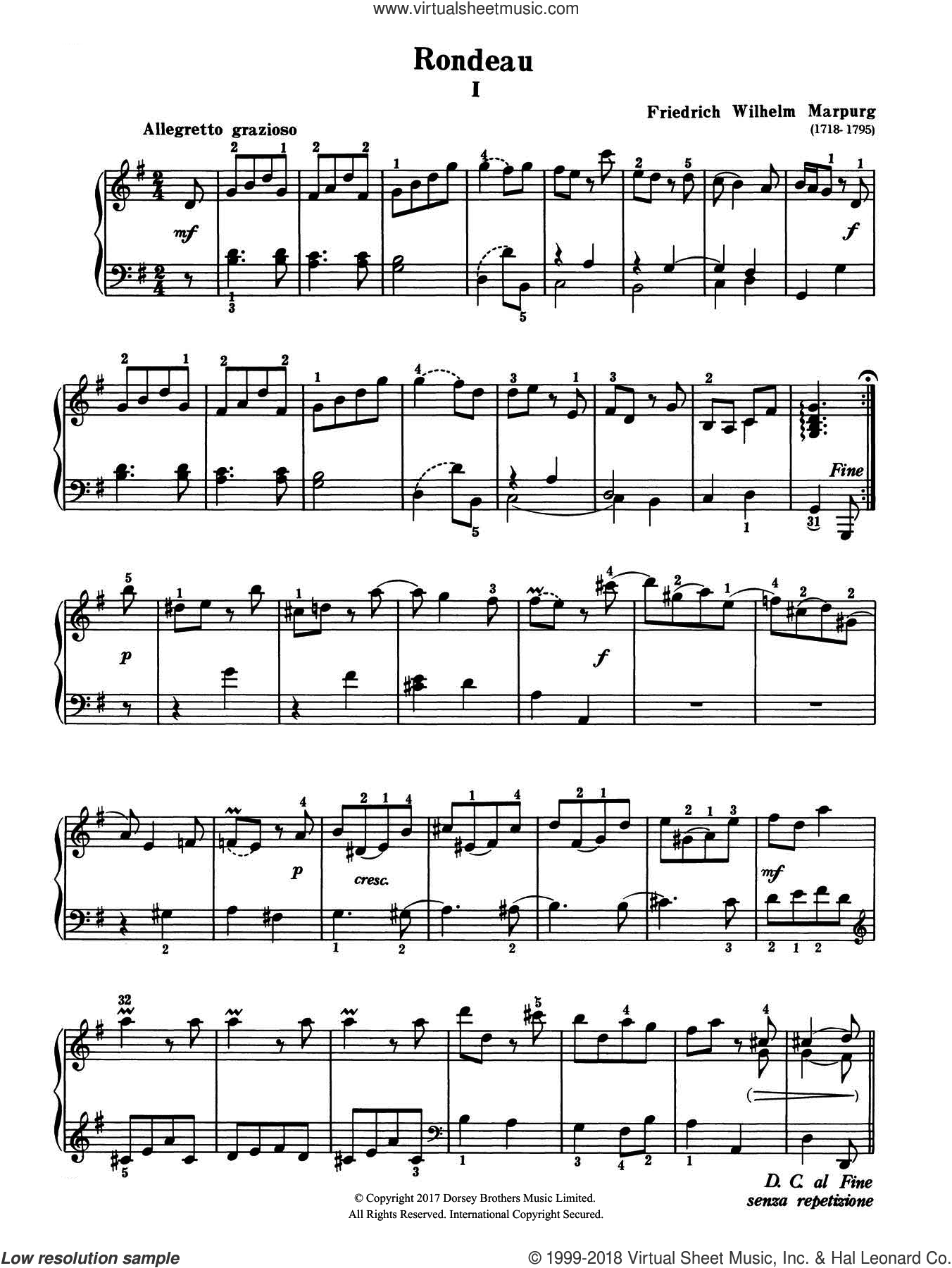 Rondeau sheet music for piano solo by Friedrich Wilhelm Marpurg, classical score, intermediate
