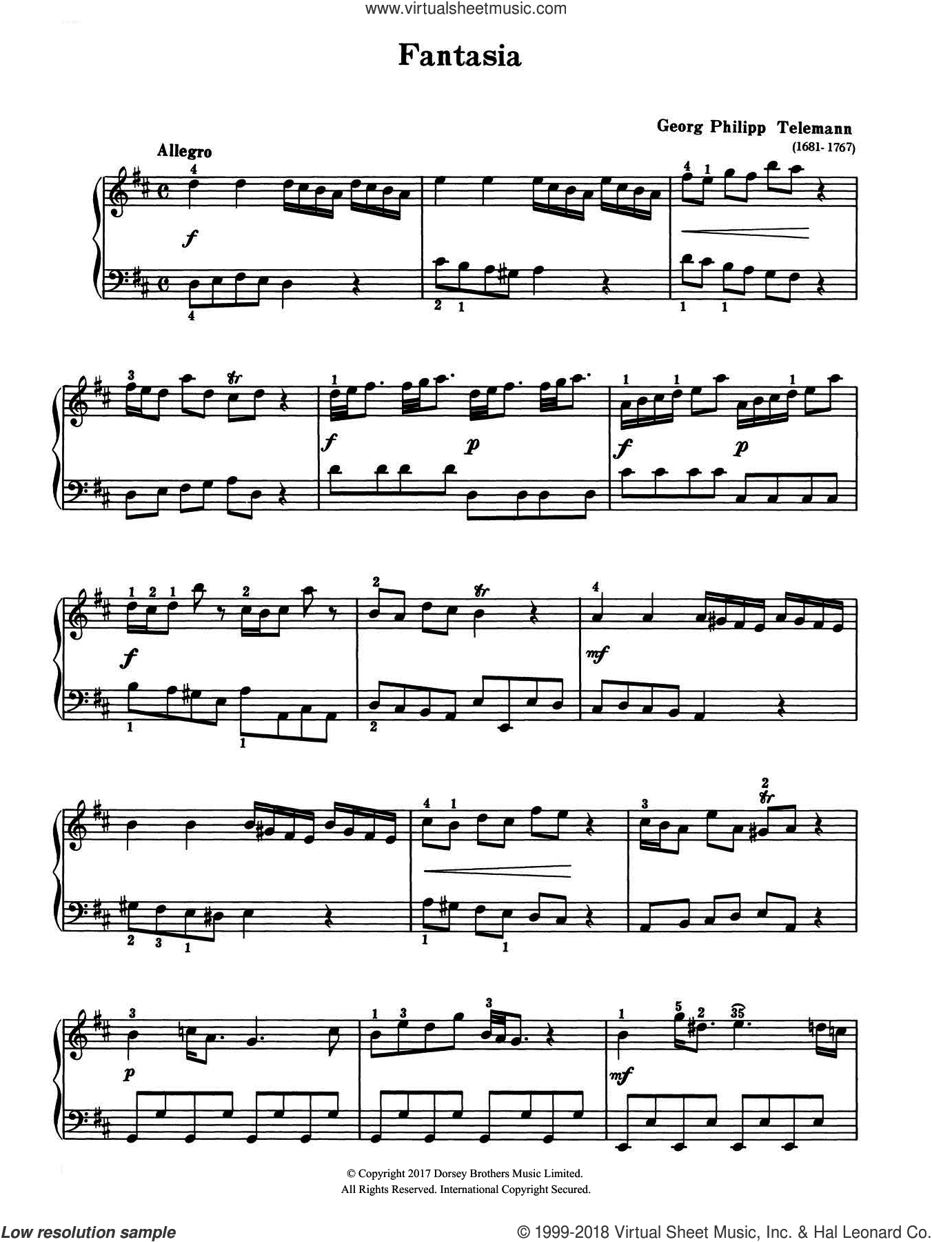 Fantasia sheet music for piano solo by Georg Philipp Telemann, classical score, intermediate. Score Image Preview.