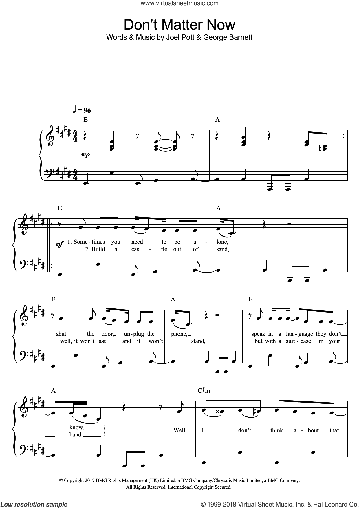 Don't Matter Now sheet music for piano solo by George Ezra, George Barnett and Joel Pott, easy skill level