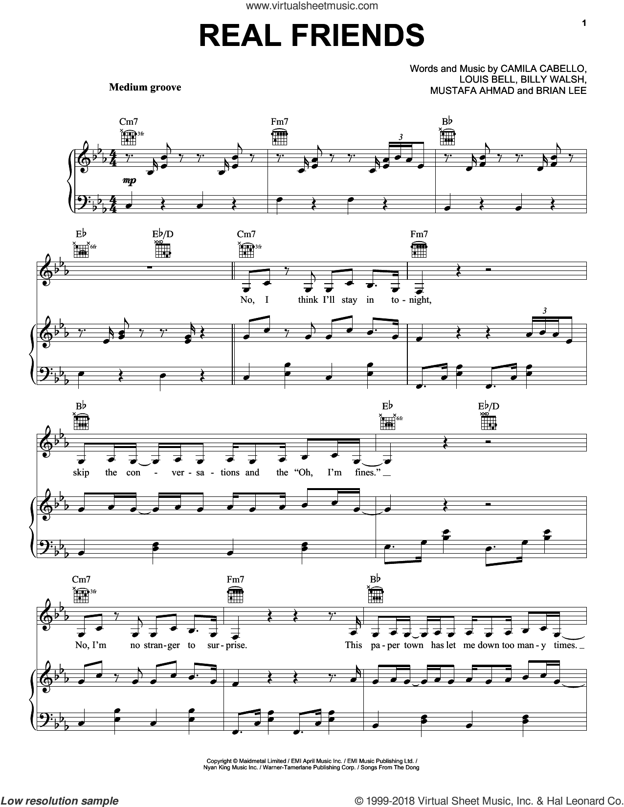 Real Friends sheet music for voice, piano or guitar by Camila Cabello, Billy Walsh, Brian Lee, Louis Bell and Mustafa Ahmad, intermediate skill level