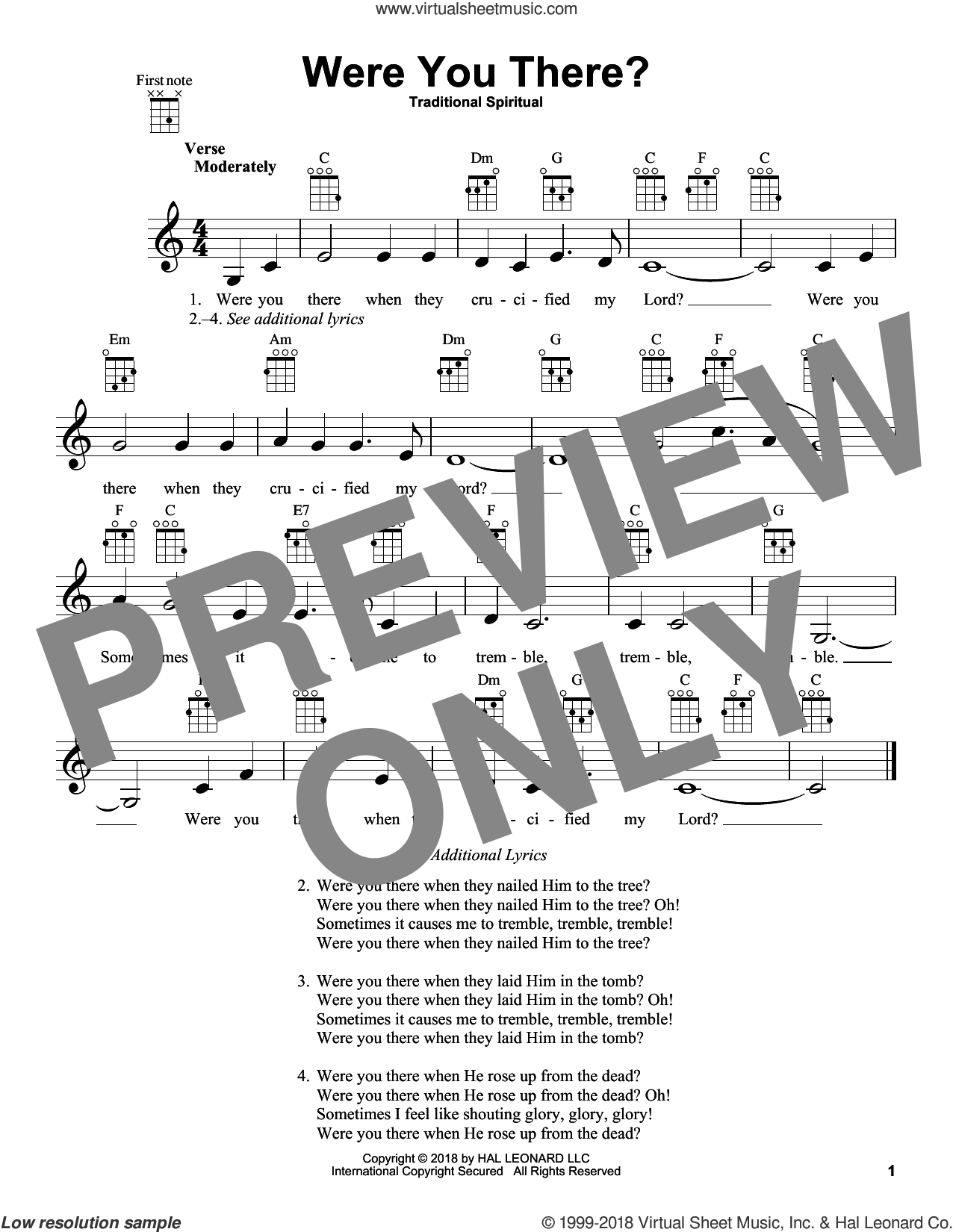 Were You There? sheet music for ukulele  and Charles Winfred Douglas (Harm), intermediate skill level