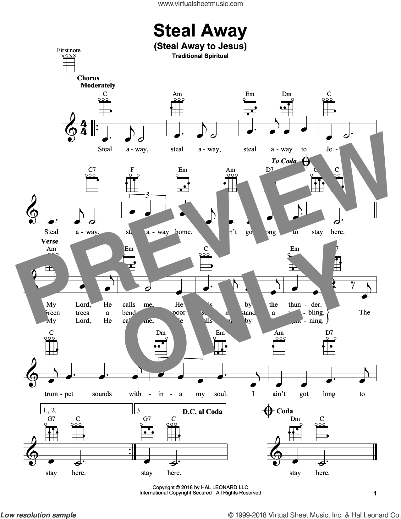 Steal Away (Steal Away To Jesus) sheet music for ukulele, intermediate skill level