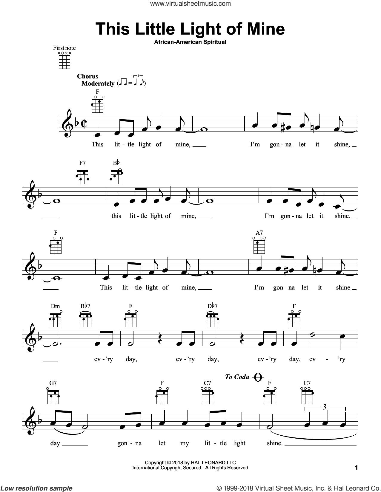 This Little Light Of Mine sheet music for ukulele, intermediate skill level