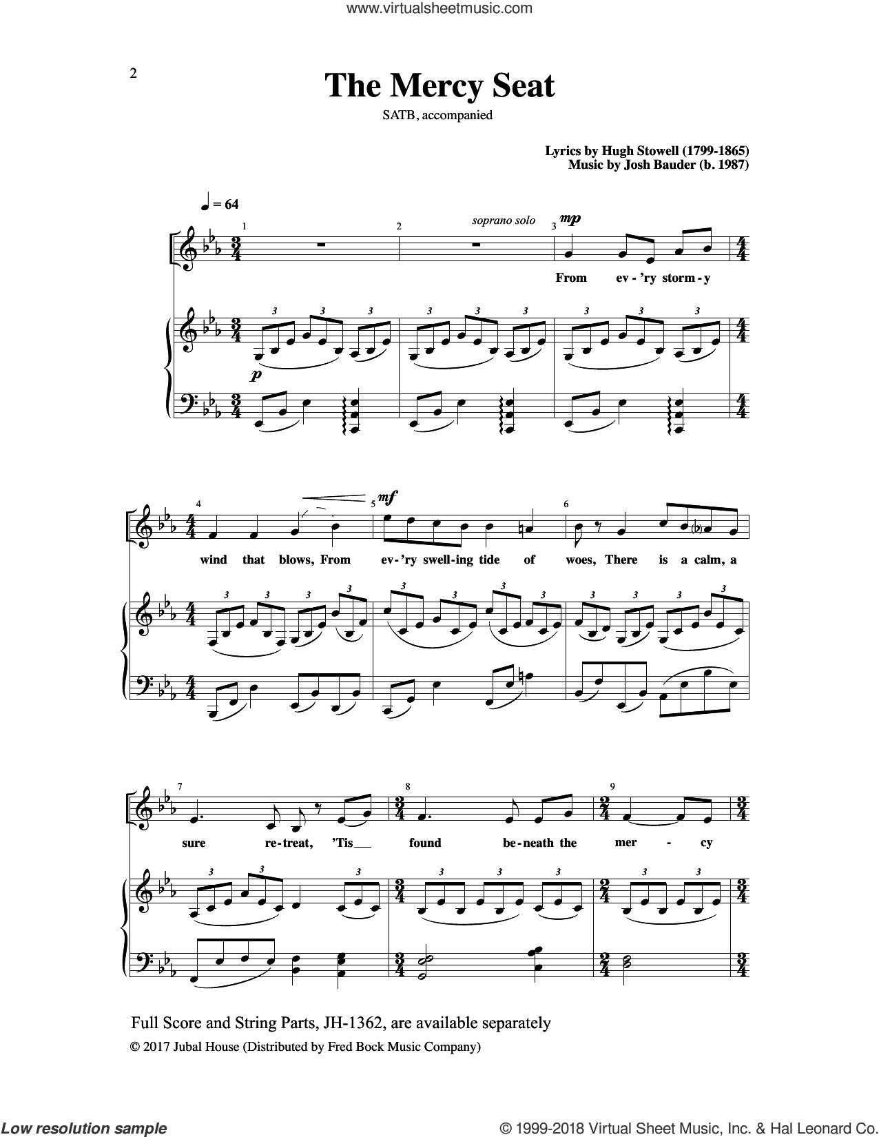 The Mercy Seat sheet music for choir (SATB: soprano, alto, tenor, bass) by Hugh Stowell and Josh Bauder, intermediate skill level