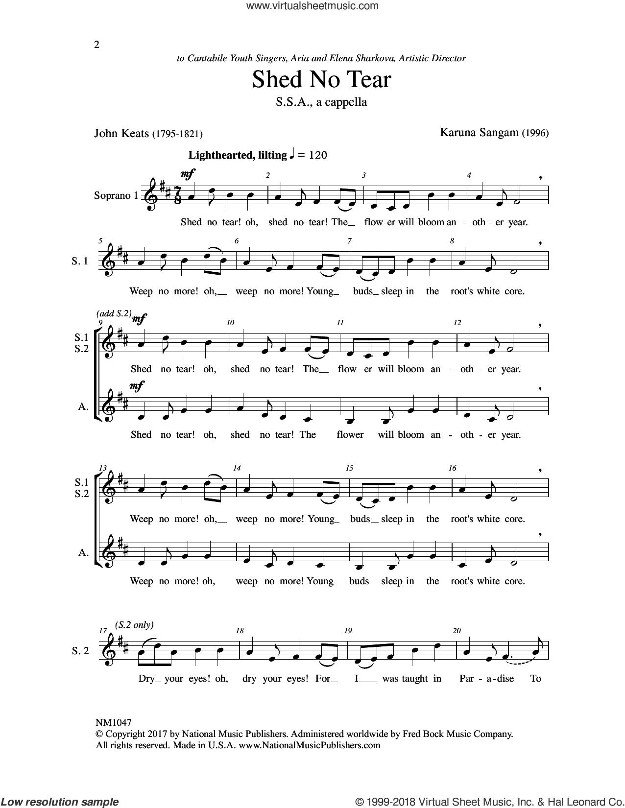 Shed No Tear sheet music for choir by John Keats and Karuna Sangam, intermediate skill level