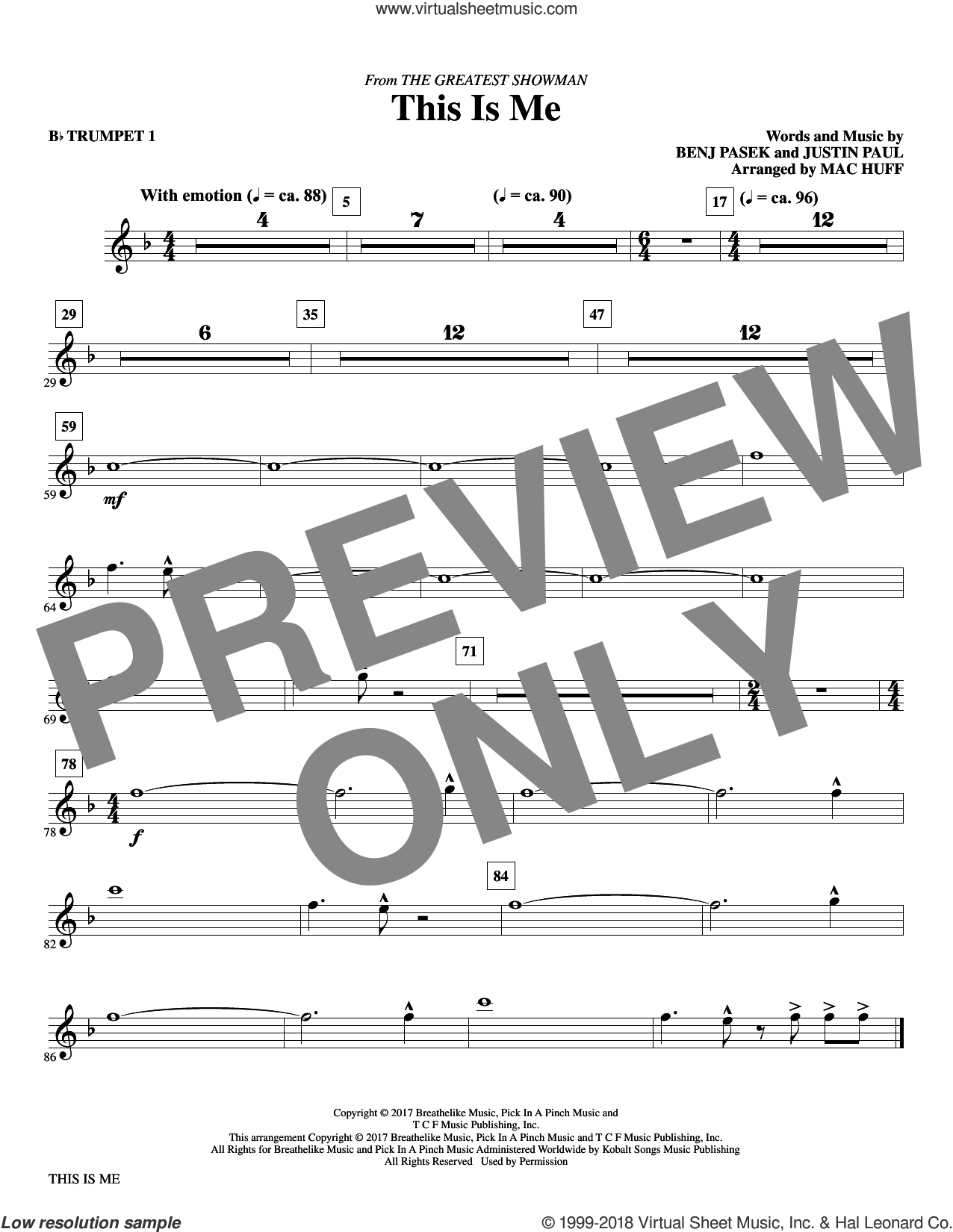 This Is Me (from The Greatest Showman) (arr. Mac Huff) (complete set of parts) sheet music for orchestra/band by Mac Huff, Benj Pasek, Justin Paul and Pasek & Paul, intermediate skill level