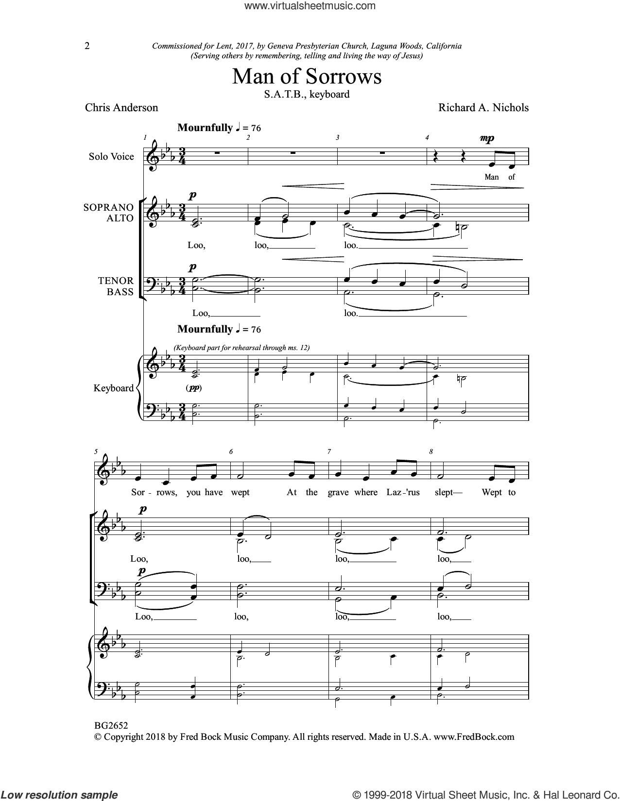 Man of Sorrows sheet music for choir by Chris Anderson and Richard A. Nichols, intermediate skill level