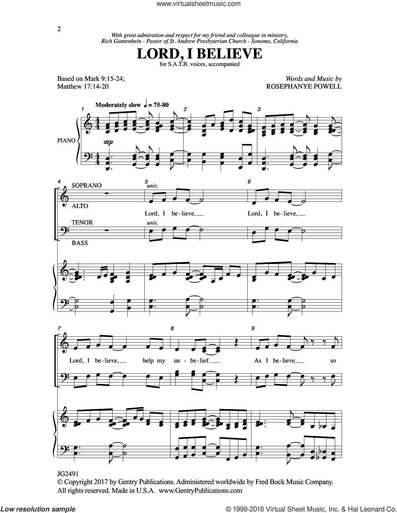 Lord, I Believe sheet music for choir (SATB: soprano, alto, tenor, bass) by Rosephanye Powell, intermediate skill level