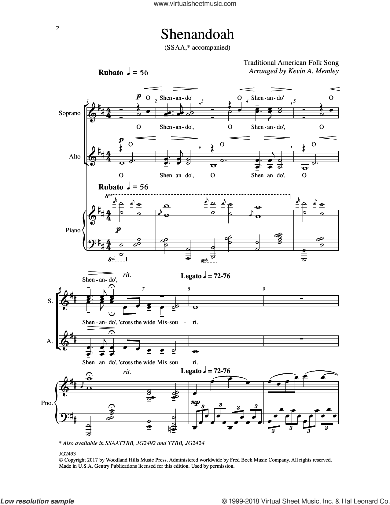 Shenandoah sheet music for choir (SSAA: soprano, alto) by Kevin A. Memley, intermediate skill level