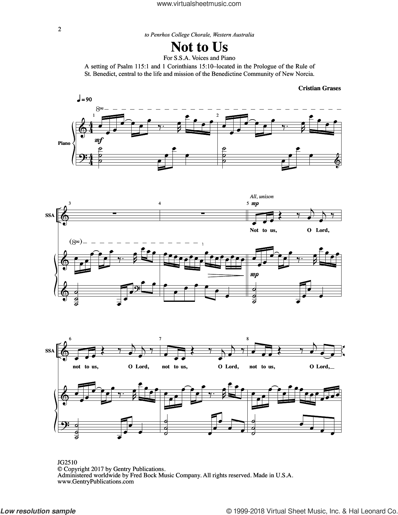 Not to Us sheet music for choir by Cristian Grases, intermediate skill level