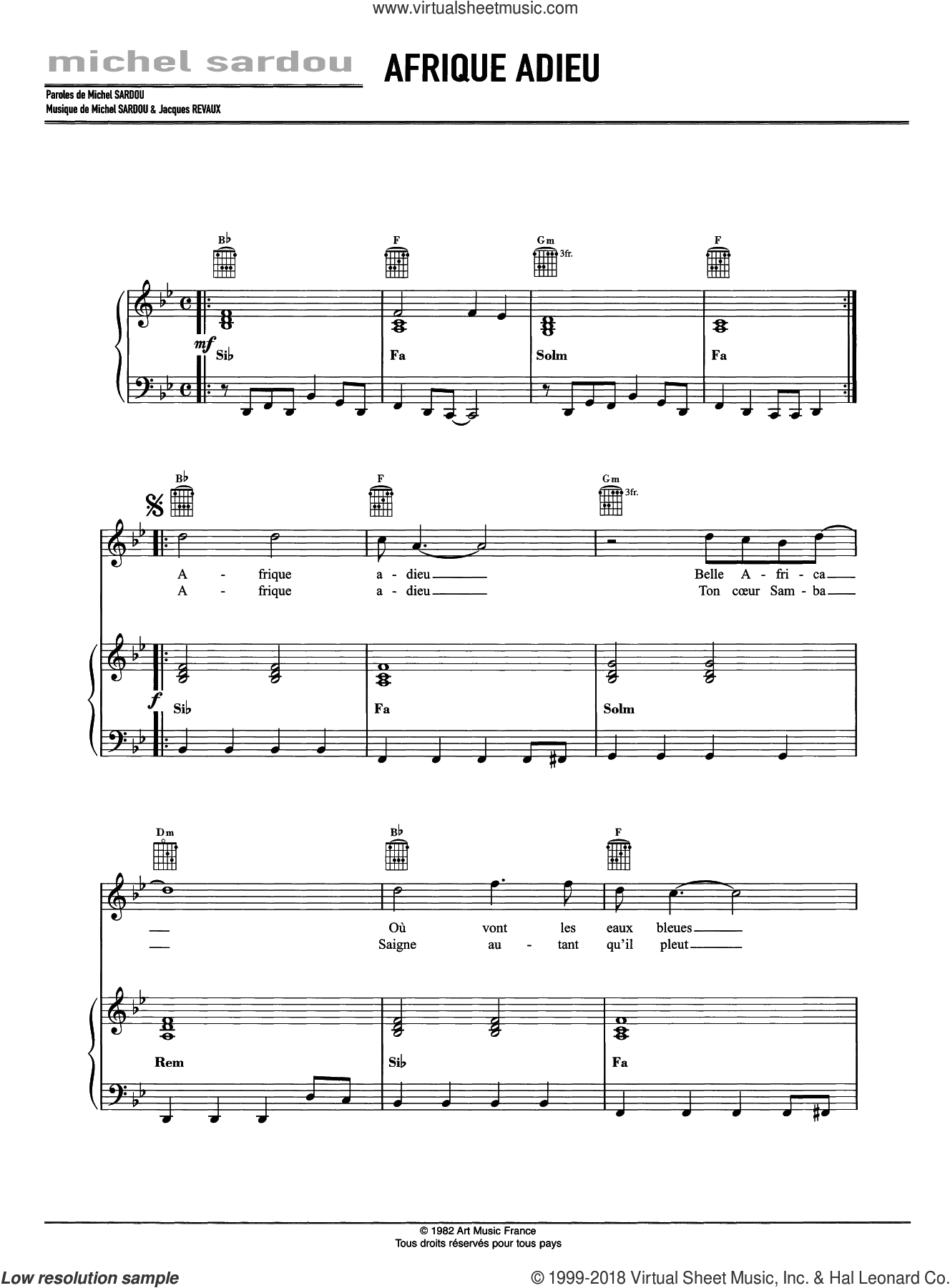 Afrique Adieu sheet music for voice, piano or guitar by Michel Sardou and Jacques Revaux, intermediate skill level