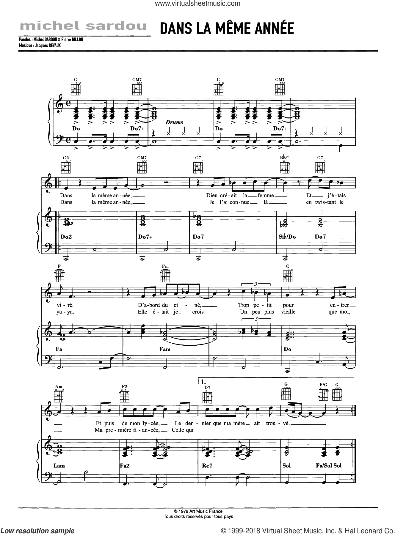 Dans La Meme Annee sheet music for voice, piano or guitar by Michel Sardou and Jacques Revaux, intermediate skill level