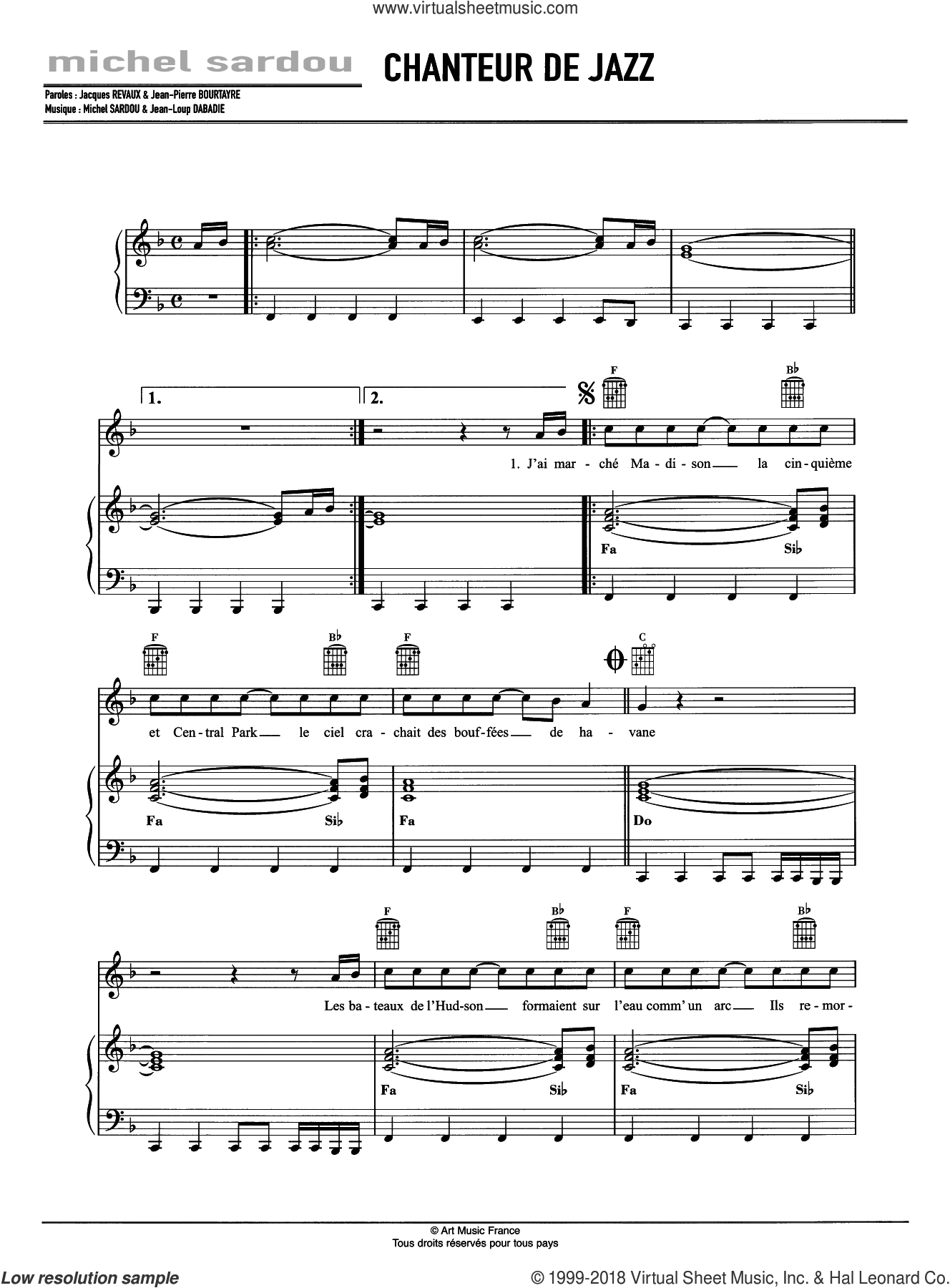 Chanteur De Jazz sheet music for voice, piano or guitar by Michel Sardou and Jean-Loup Dabadie, intermediate skill level