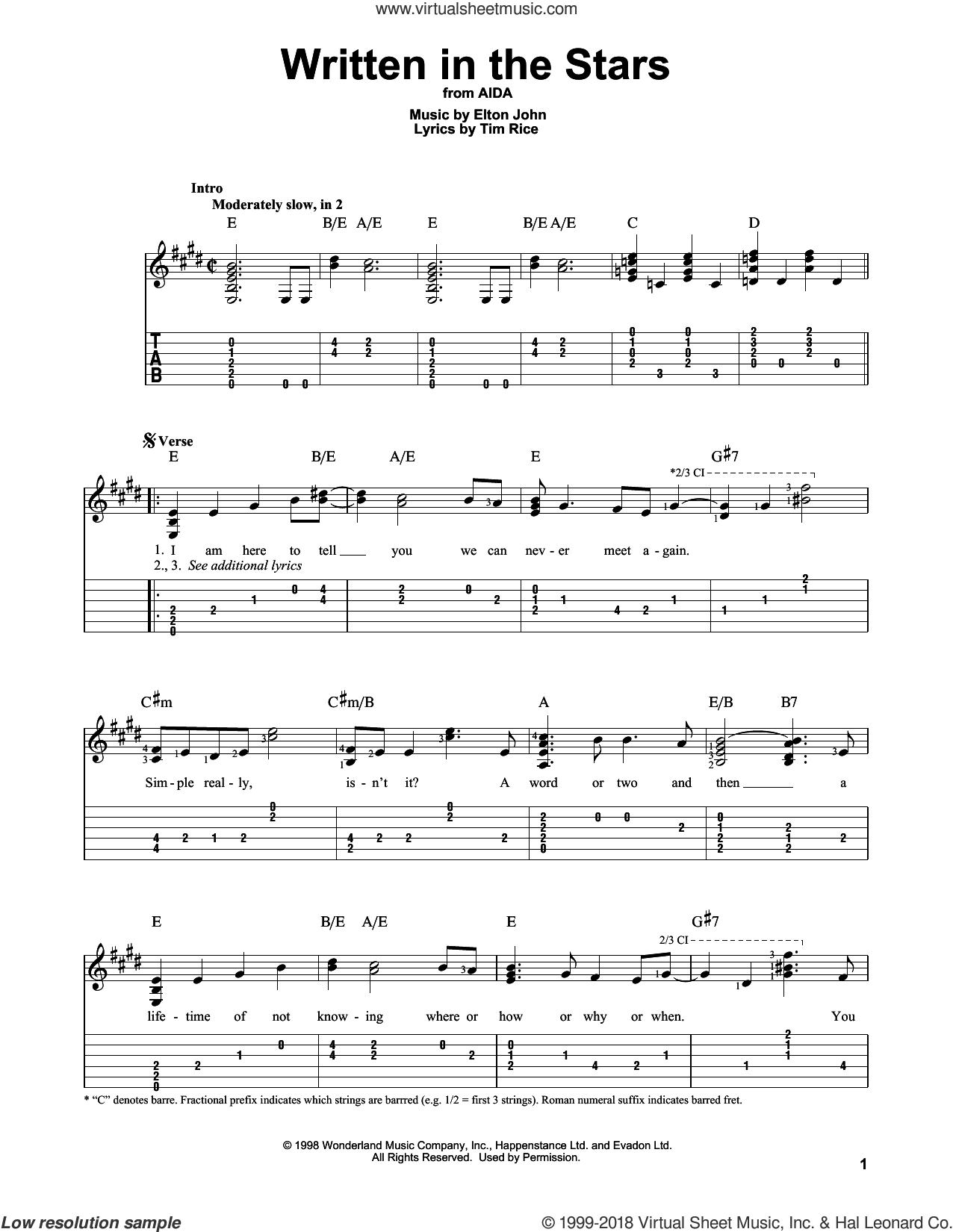 Written In The Stars sheet music for guitar solo by Elton John and Tim Rice, intermediate skill level