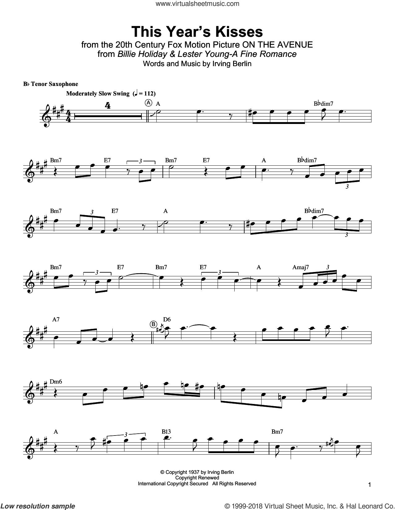 This Year's Kisses sheet music for tenor saxophone solo (transcription) by Lester Young, Billie Holiday and Irving Berlin, intermediate tenor saxophone (transcription)