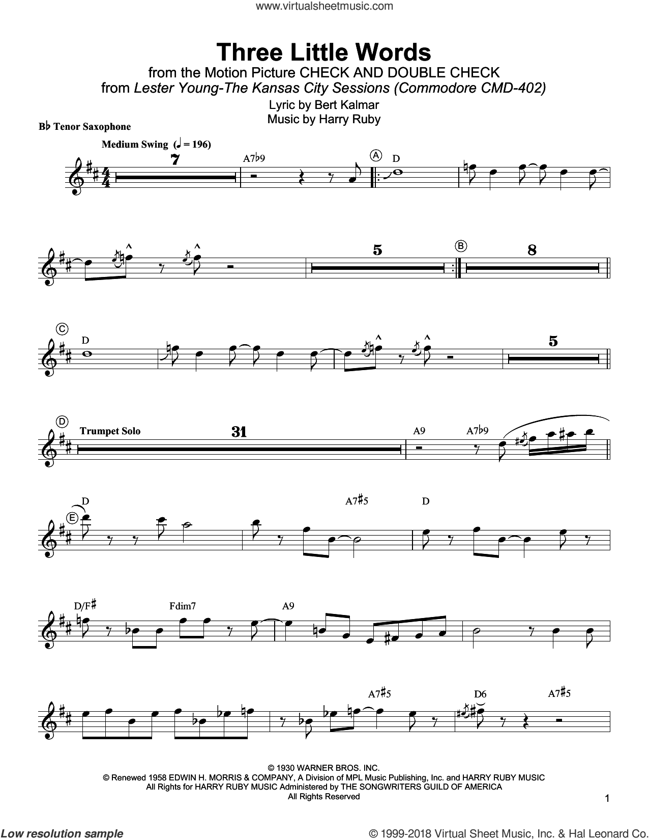 Three Little Words sheet music for tenor saxophone solo (transcription) by Lester Young, Bert Kalmar and Harry Ruby, intermediate tenor saxophone (transcription)