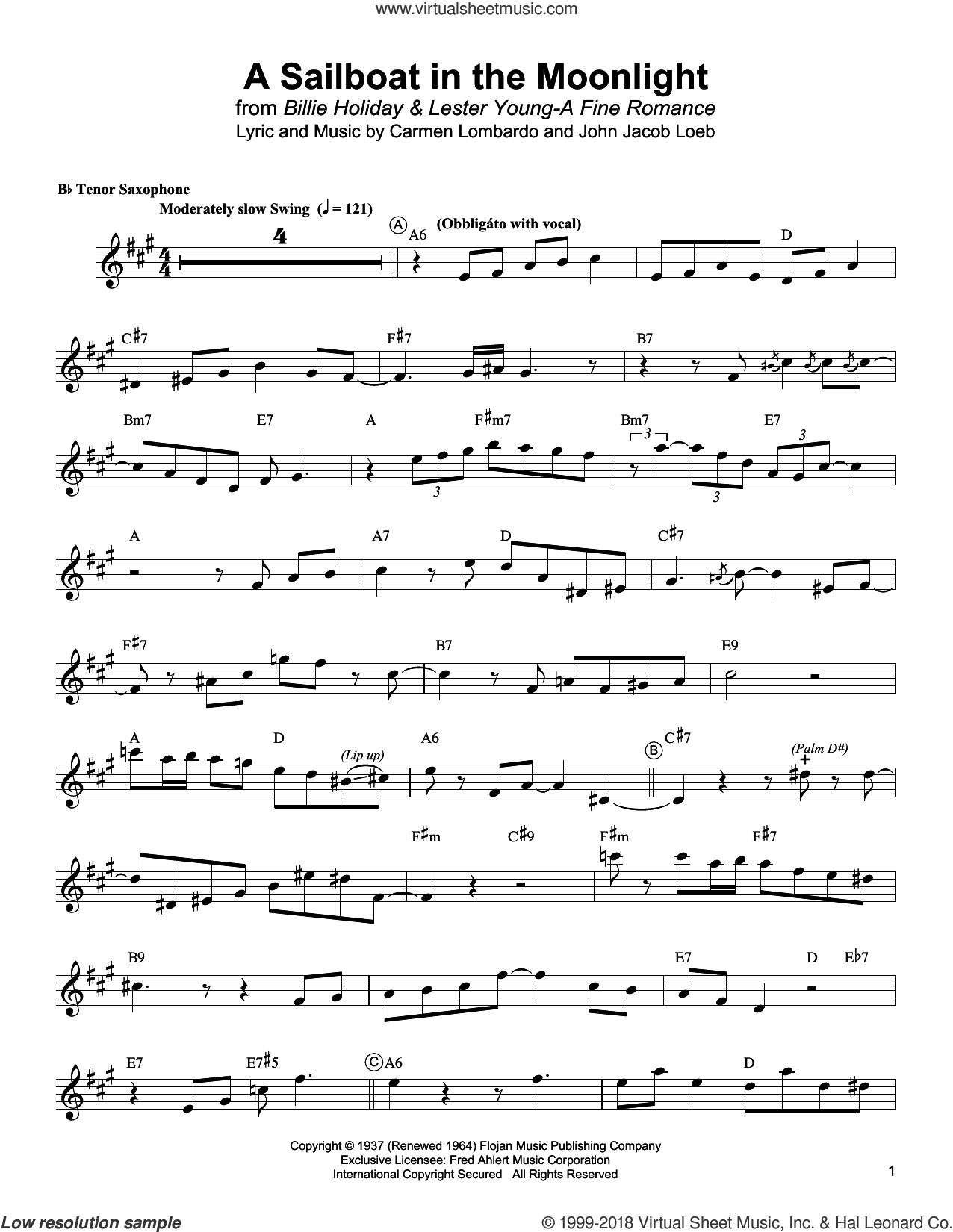 A Sailboat In The Moonlight sheet music for tenor saxophone solo (transcription) by Lester Young, Carmen Lombardo and John Jacob Loeb, intermediate tenor saxophone (transcription)