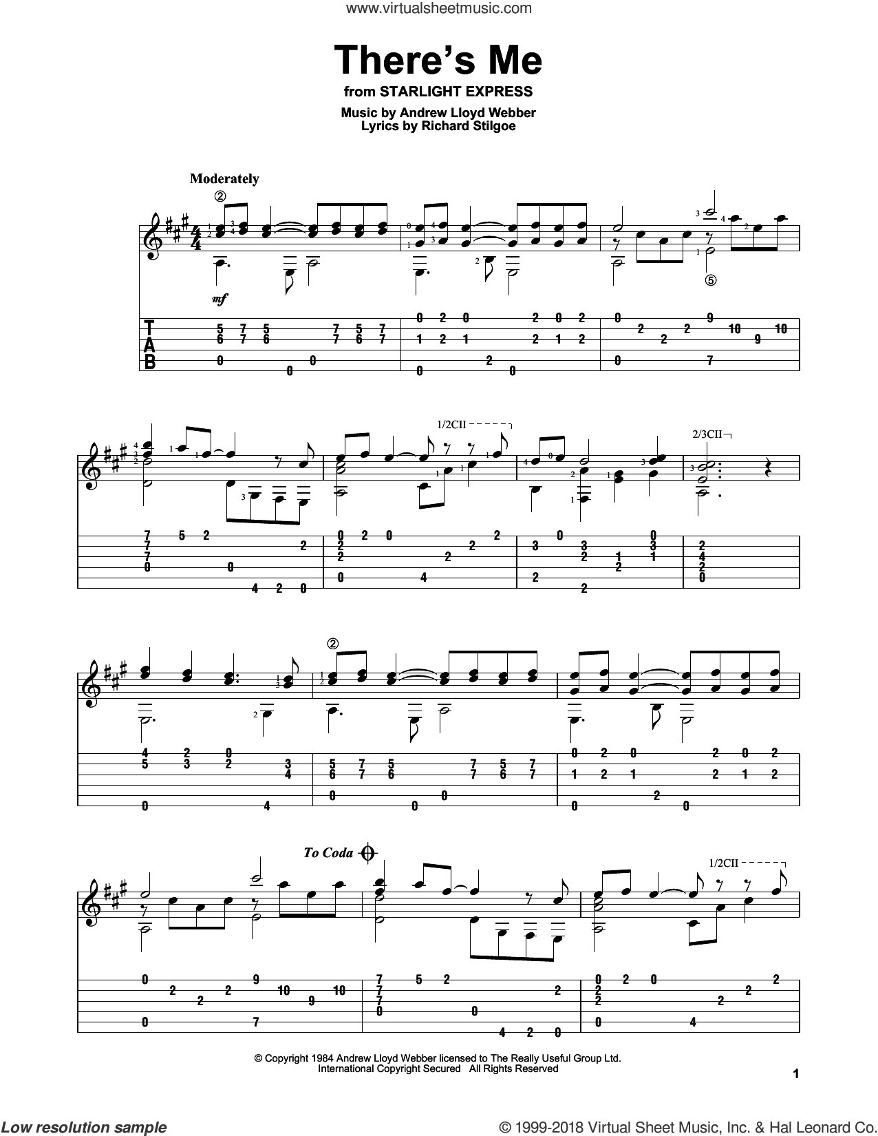 There's Me sheet music for guitar solo by Andrew Lloyd Webber and Richard Stilgoe, intermediate skill level