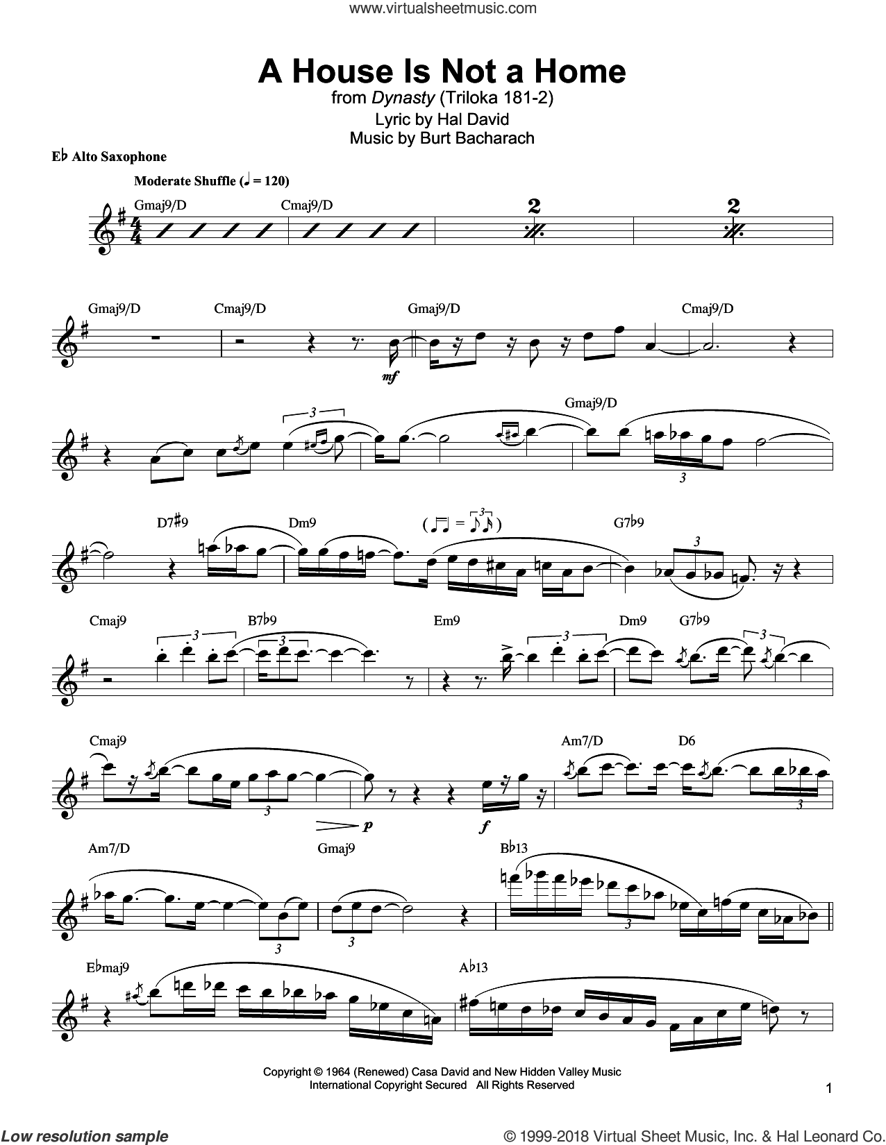 A House Is Not A Home sheet music for alto saxophone (transcription) by Jackie McLean, Burt Bacharach and Hal David, intermediate skill level