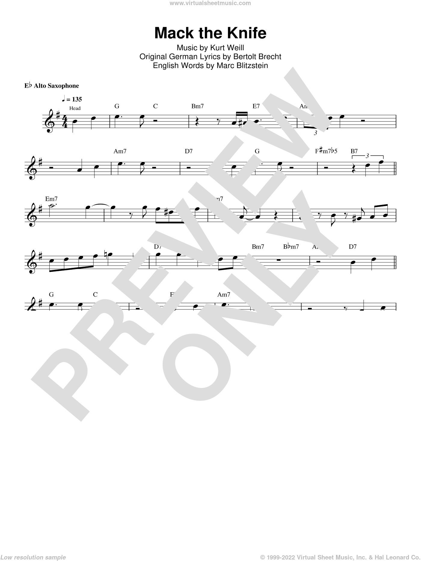 Mack The Knife sheet music for alto saxophone (transcription) by Kenny Garrett, Bertolt Brecht, Kurt Weill and Marc Blitzstein, intermediate skill level